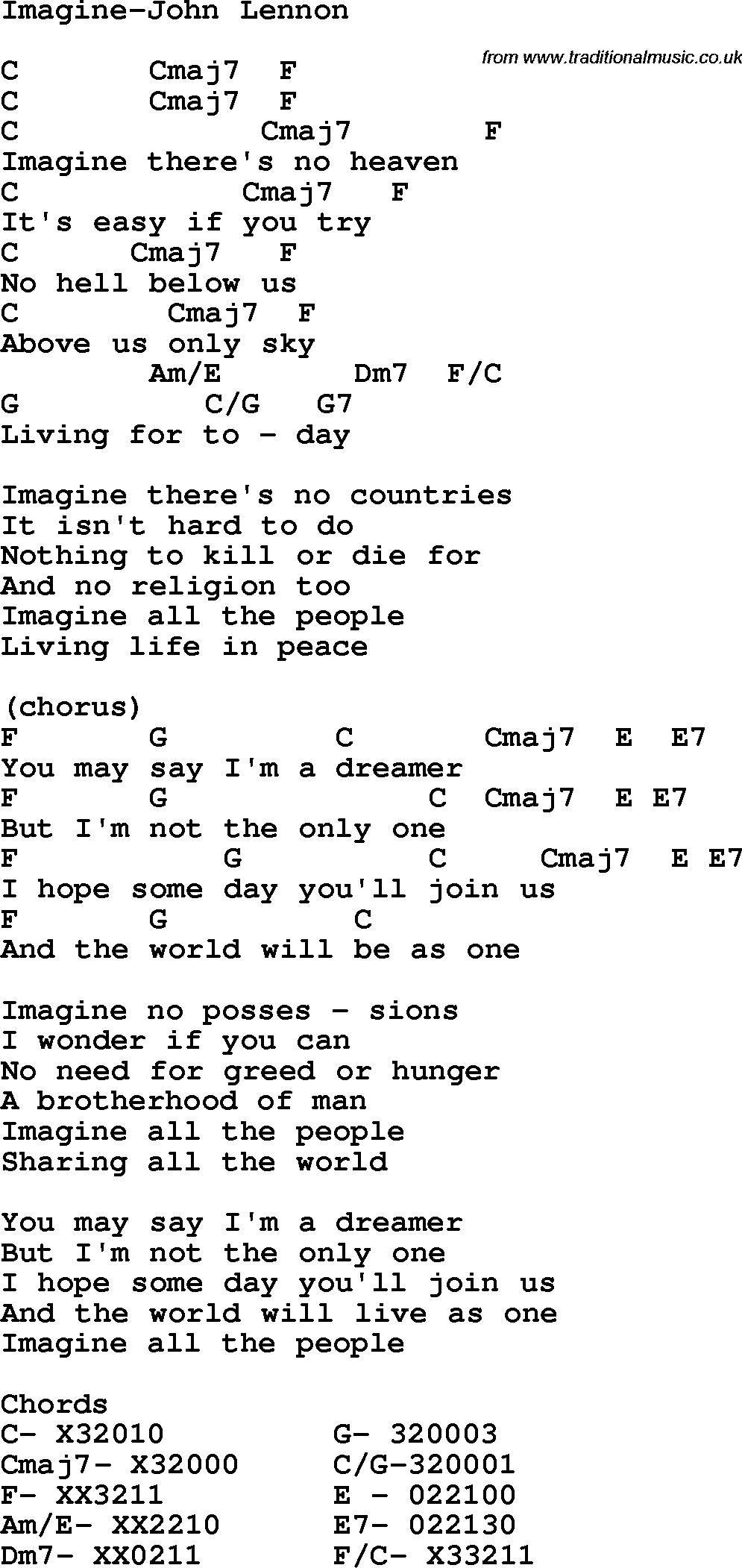 I Can Only Imagine Chords Protest Song Imagine John Lennon Lyrics And Chords