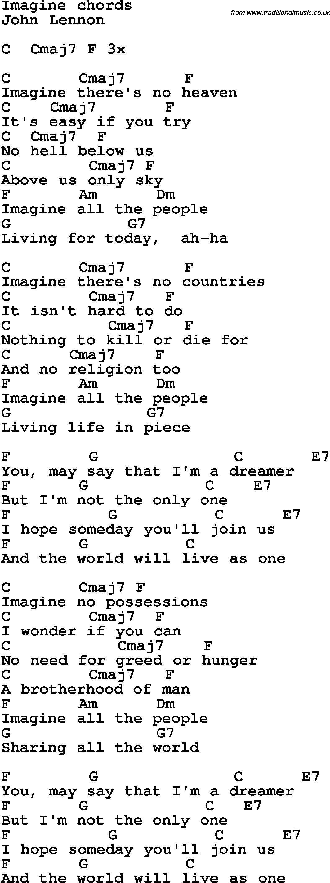 I Can Only Imagine Chords Song Lyrics With Guitar Chords For Imagine John Lennon