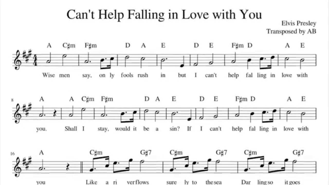 I Can T Help Falling In Love With You Chords Cant Help Falling In Love Elvis Presley Sax Cover Sheet Music Pdf W Lyrics Chords