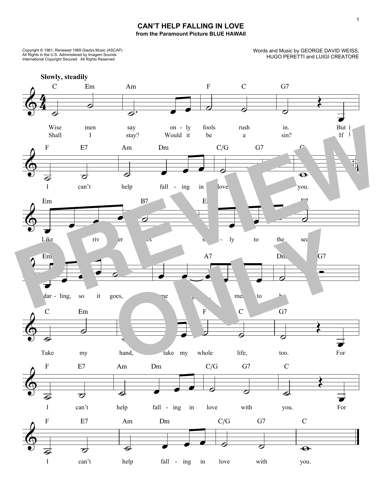 I Can T Help Falling In Love With You Chords Cant Help Falling In Love Sheet Music Elvis Presley Lead Sheet