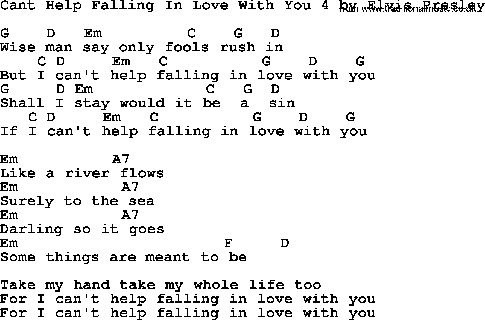 I Can T Help Falling In Love With You Chords Cant Help Falling In Love With You 4 Elvis Presley Lyrics And