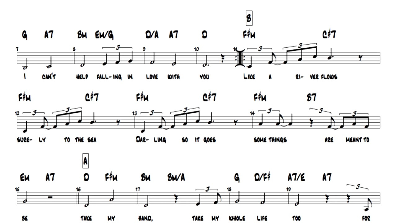 I Can T Help Falling In Love With You Chords Elvis Presley Cant Help Falling In Love Lead Sheet Play Along Chords