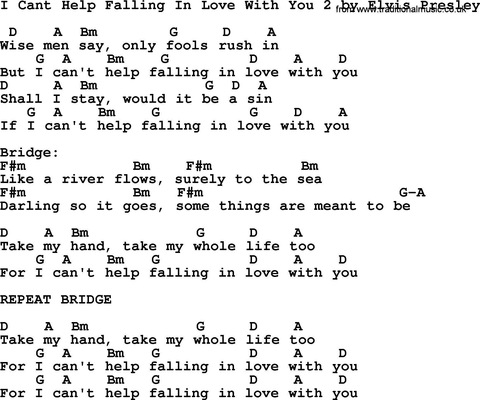 I Can T Help Falling In Love With You Chords I Cant Help Falling In Love With You 2 Elvis Presley Lyrics