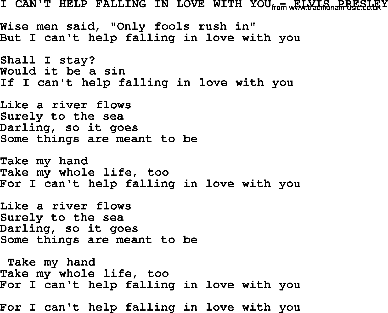 I Can T Help Falling In Love With You Chords I Cant Help Falling In Love With You Elvis Presley Txt Elvis