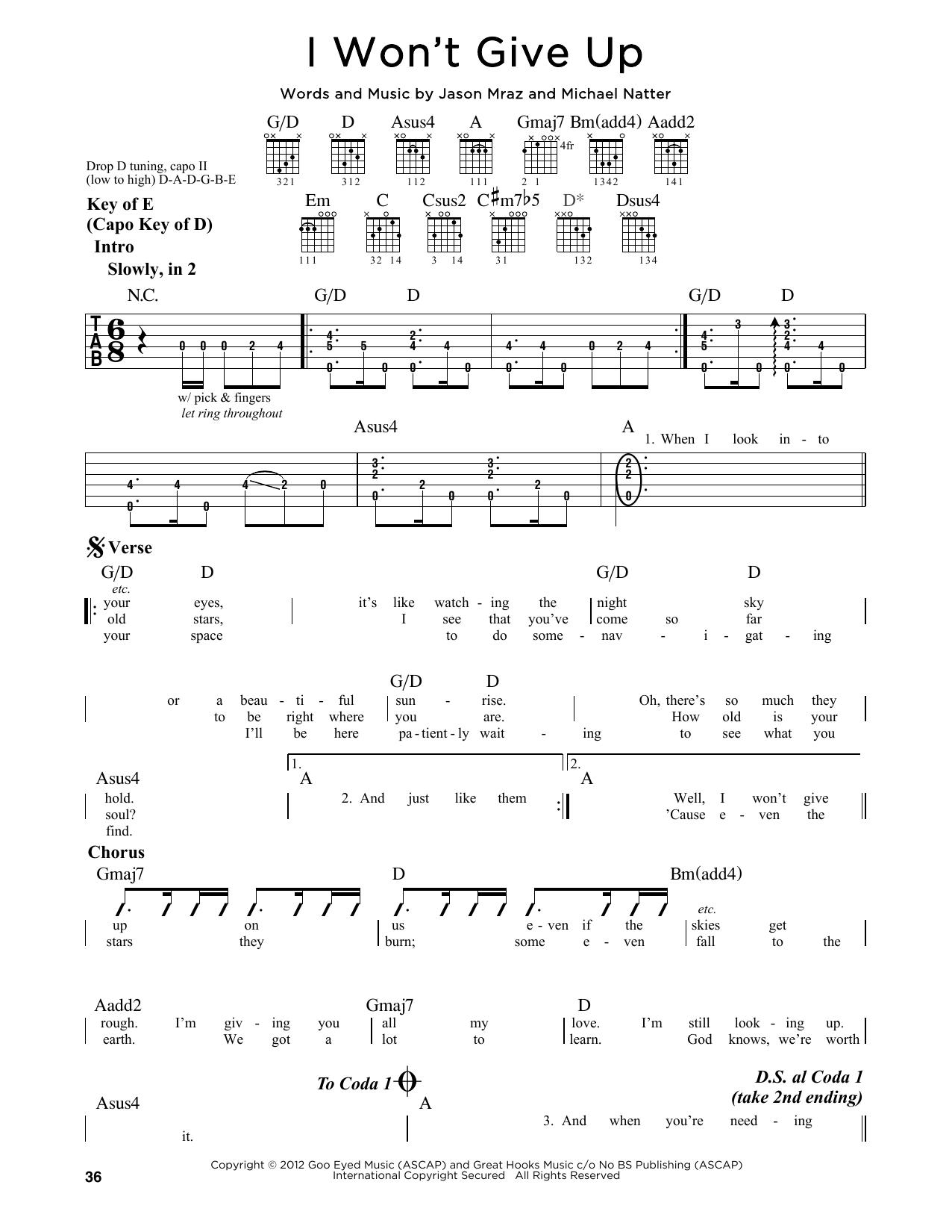 I Won T Give Up Chords I Wont Give Up Jason Mraz Piano Vocal Guitar Right Hand Melody Digital Sheet Music