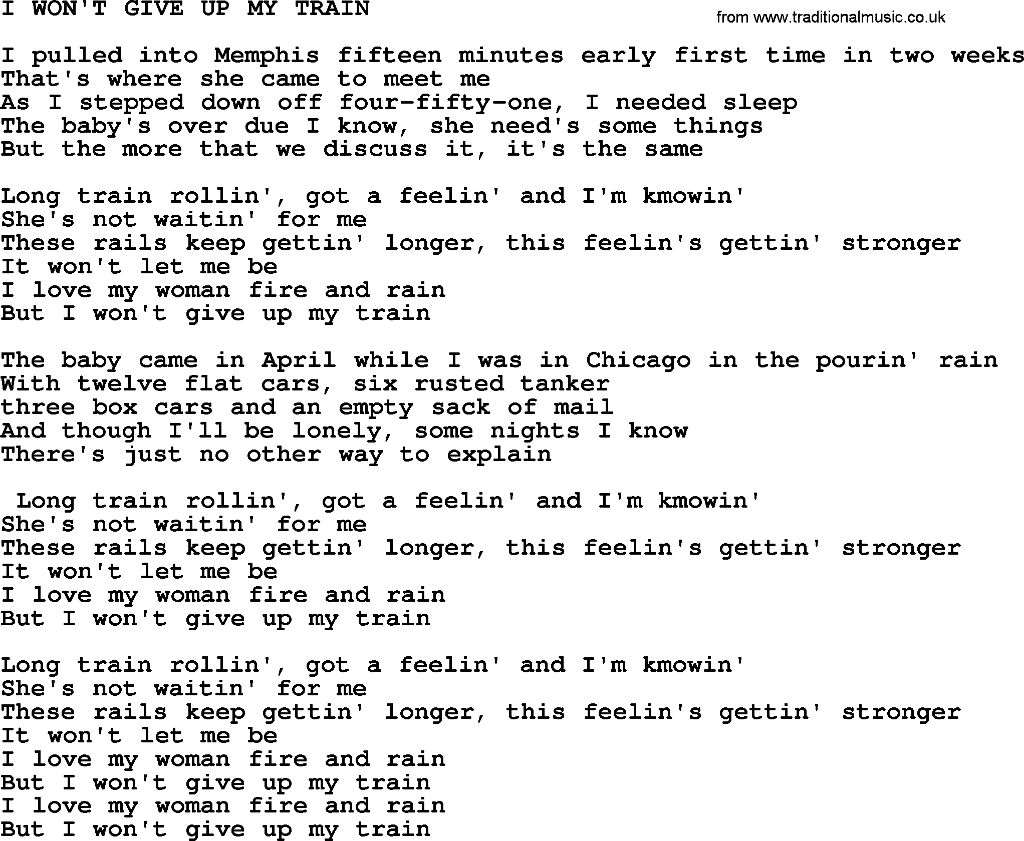I Won T Give Up Chords I Wont Give Up My Train Merle Haggard Lyrics