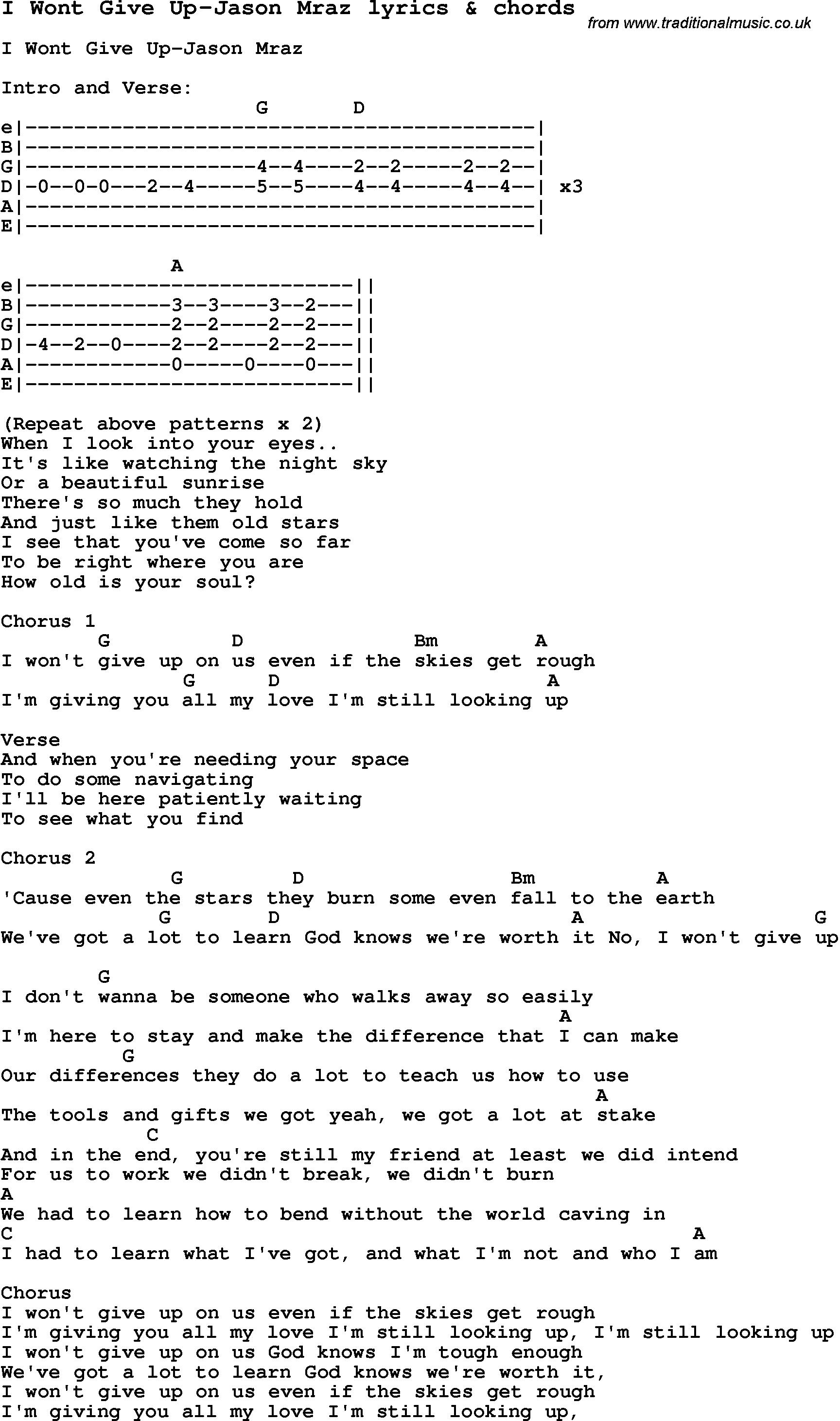 I Won T Give Up Chords Love Song Lyrics Fori Wont Give Up Jason Mraz With Chords