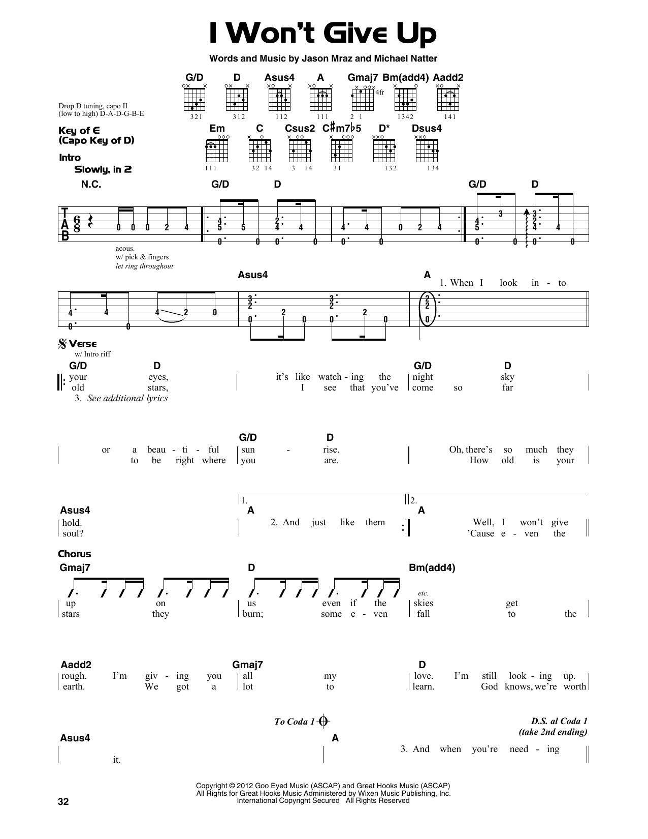 I Won T Give Up Chords Sheet Music Digital Files To Print Licensed Jason Mraz Digital