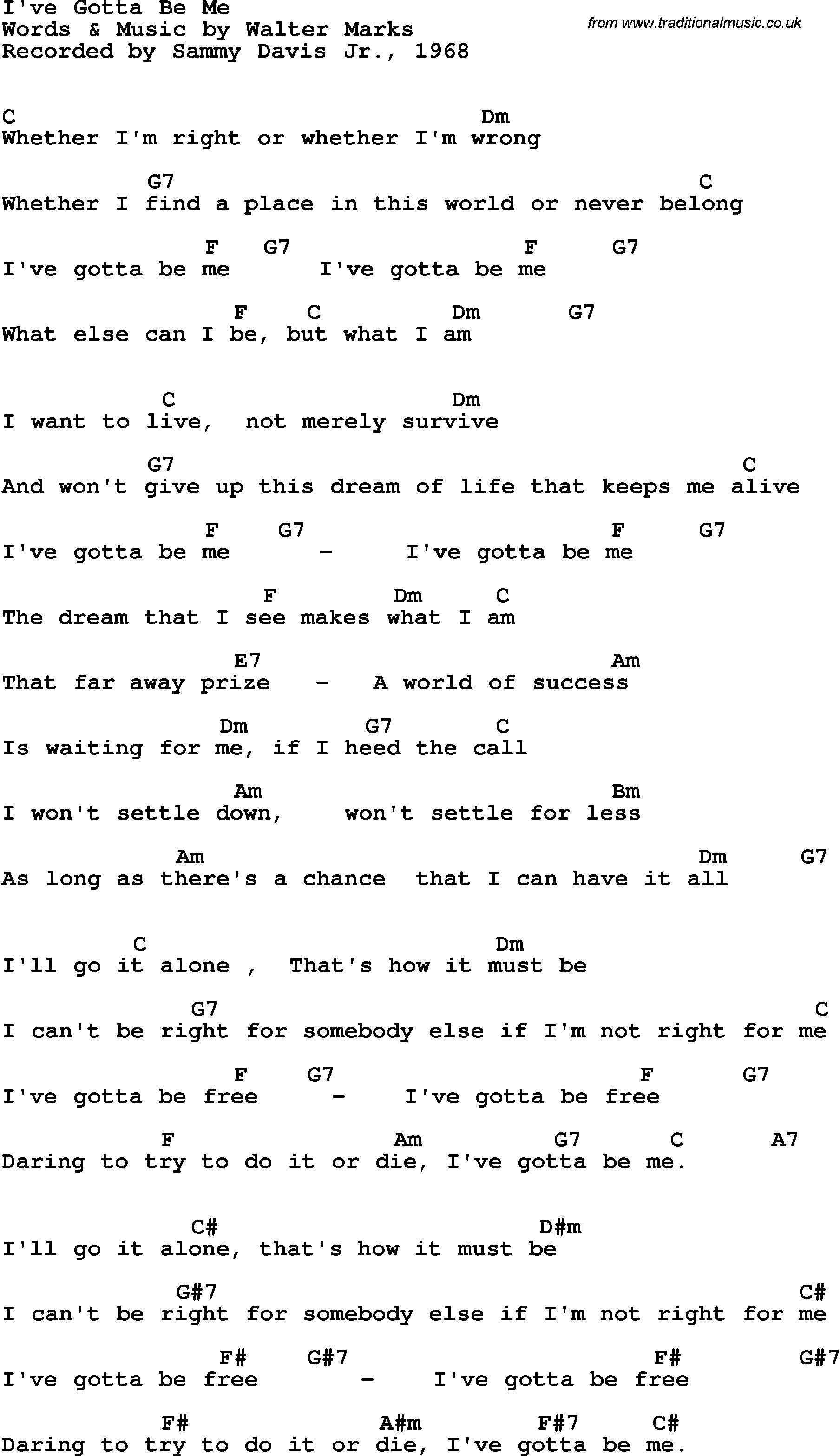 I Won T Give Up Chords Song Lyrics With Guitar Chords For Ive Gotta Be Me Sammy Davis Jr
