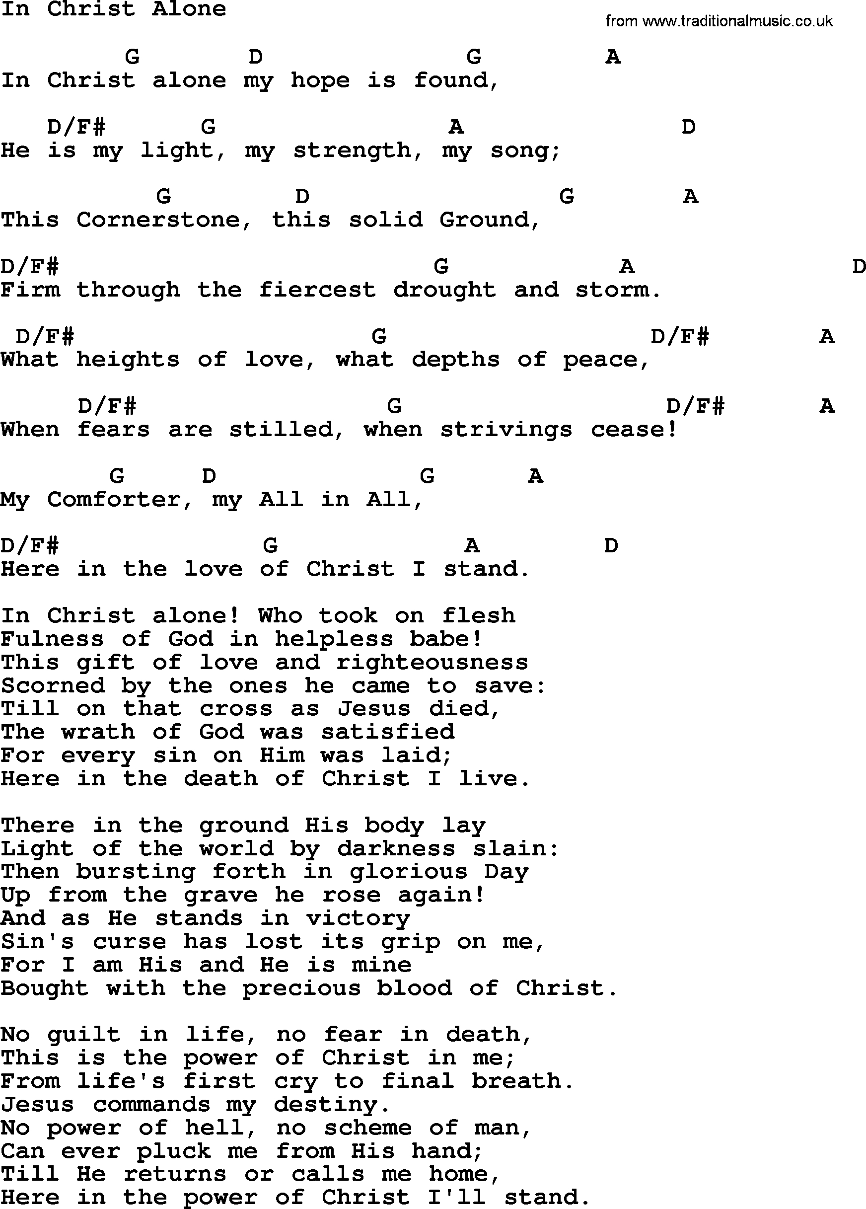 In Christ Alone Chords Wedding Hymns And Songs In Christ Alone Lyrics Chords And Pdf
