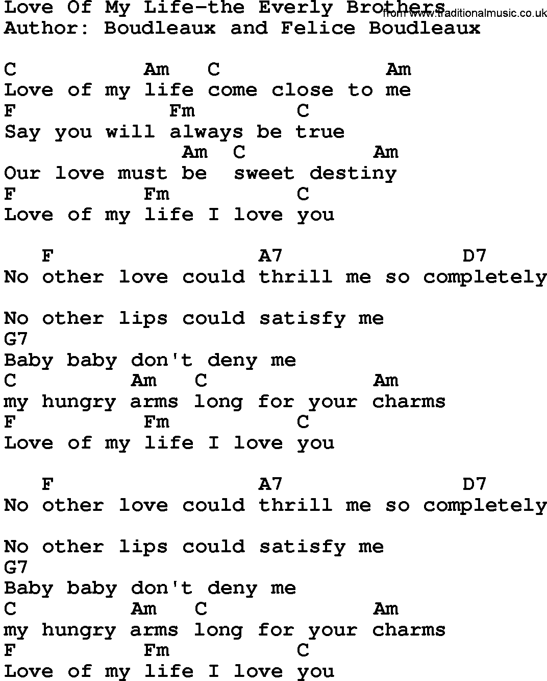In My Life Chords Country Musiclove Of My Life The Everly Brothers Lyrics And Chords