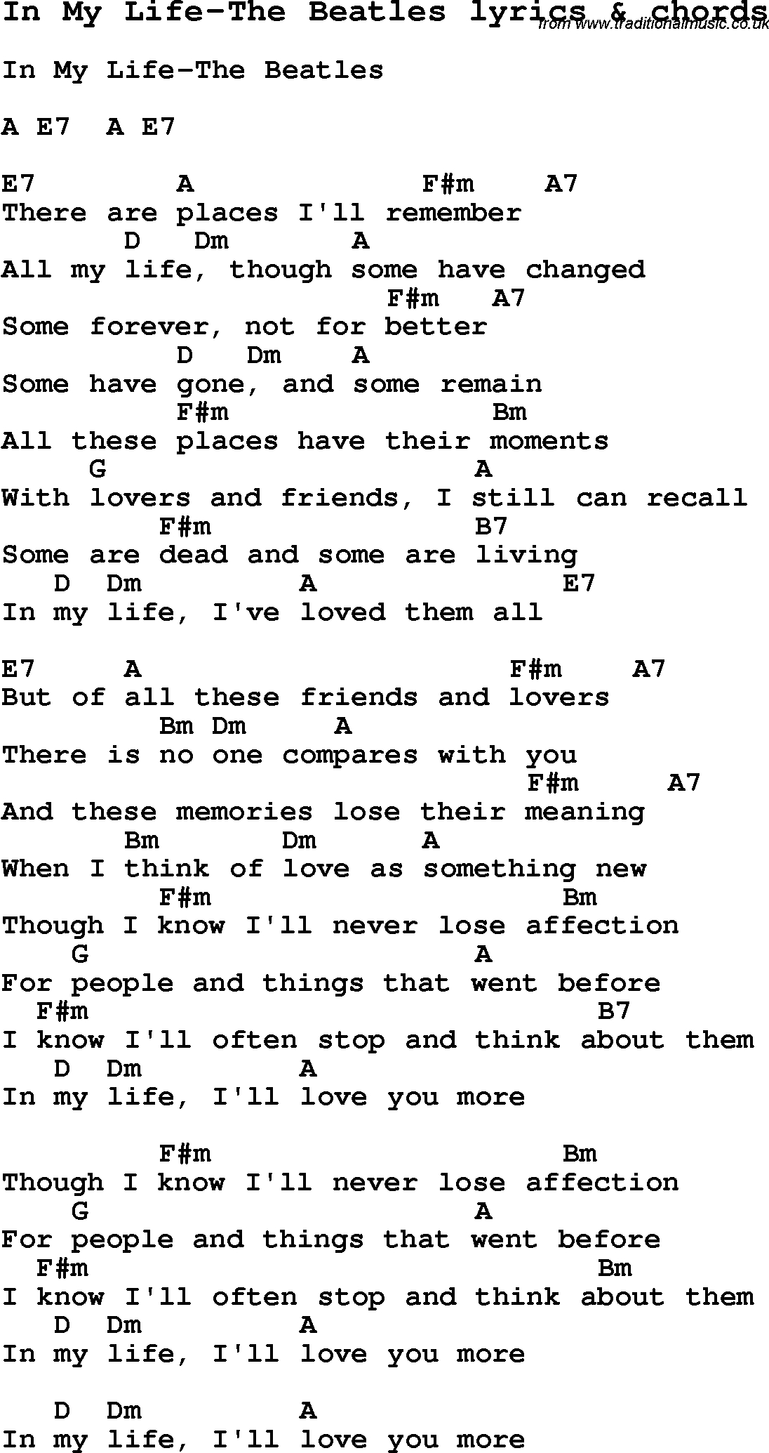 In My Life Chords Love Song Lyrics Forin My Life The Beatles With Chords