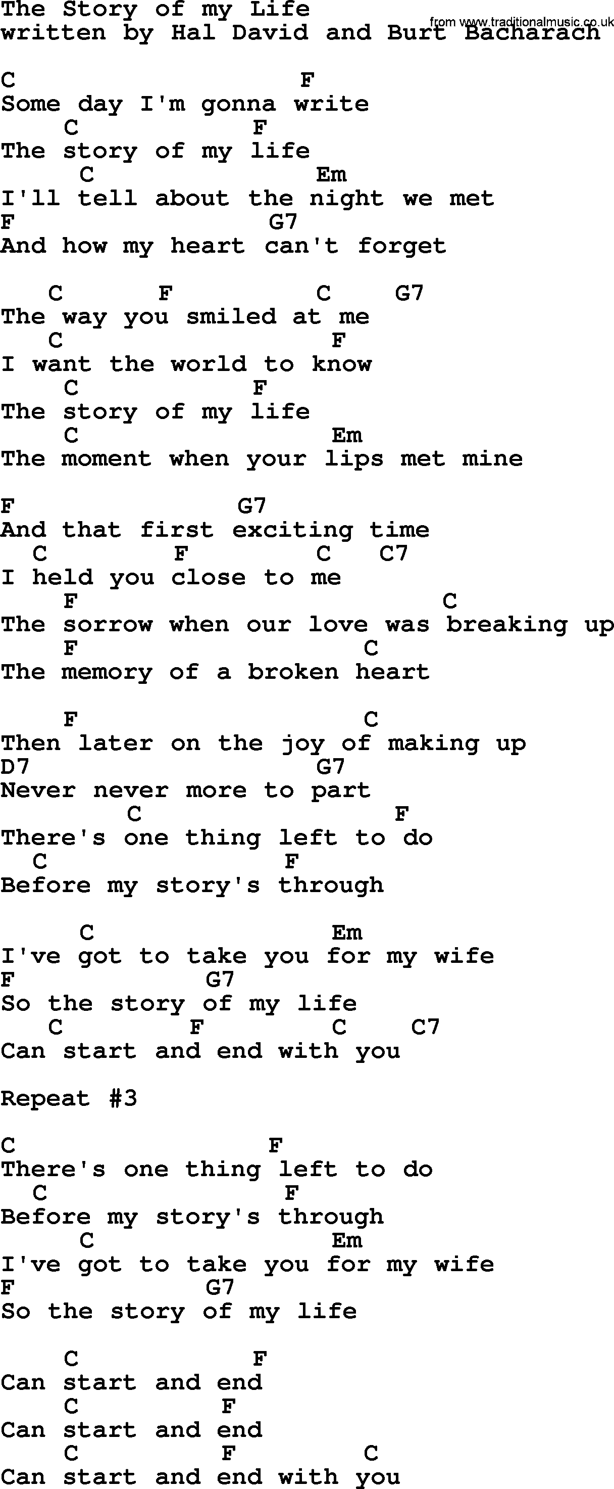 In My Life Chords The Story Of My Life Marty Robbins Lyrics And Chords