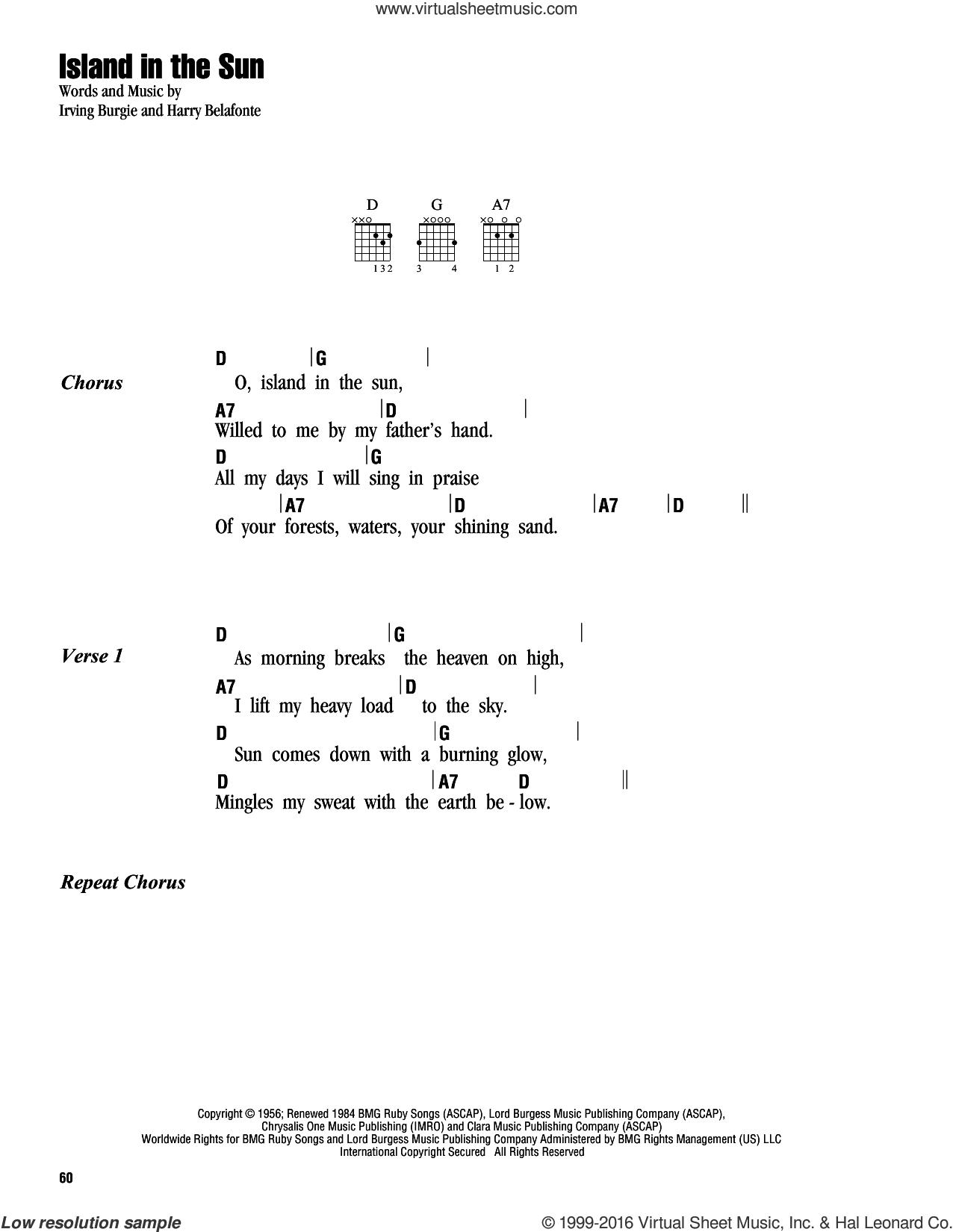 Island In The Sun Chords Belafonte Island In The Sun Sheet Music For Guitar Chords