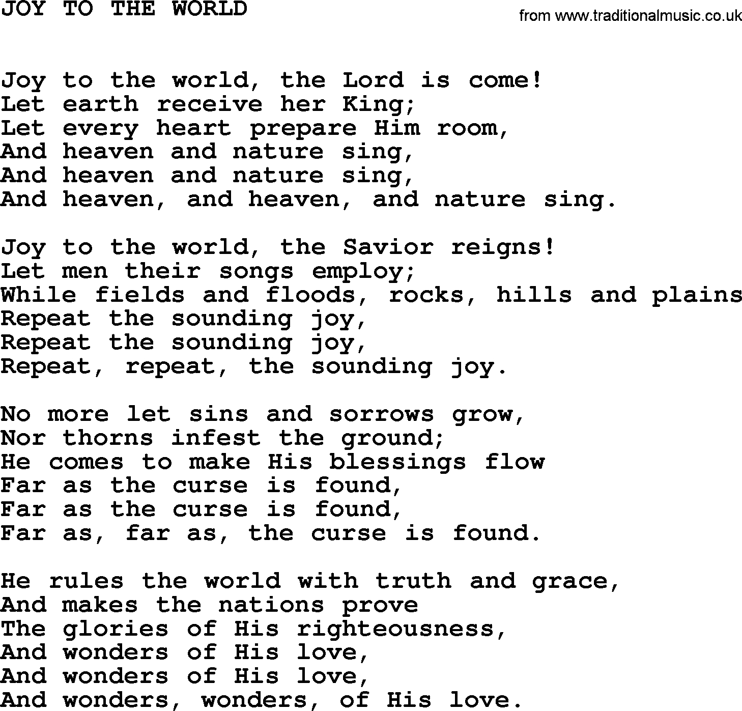 Joy To The World Chords Johnny Cash Song Joy To The World Lyrics