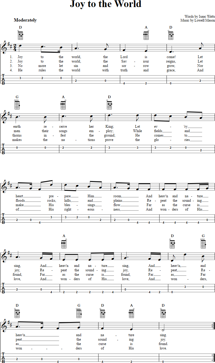 Joy To The World Chords Joy To The World Chords Sheet Music And Tab For Baritone Ukulele