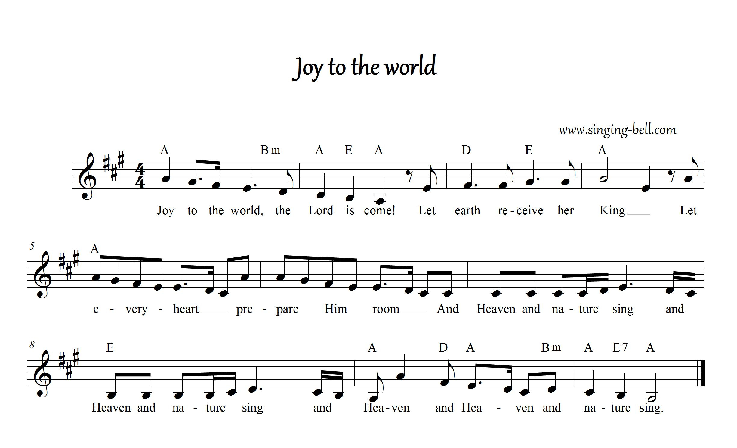 Joy To The World Chords Joy To The World Free Christmas Carols Audio Download