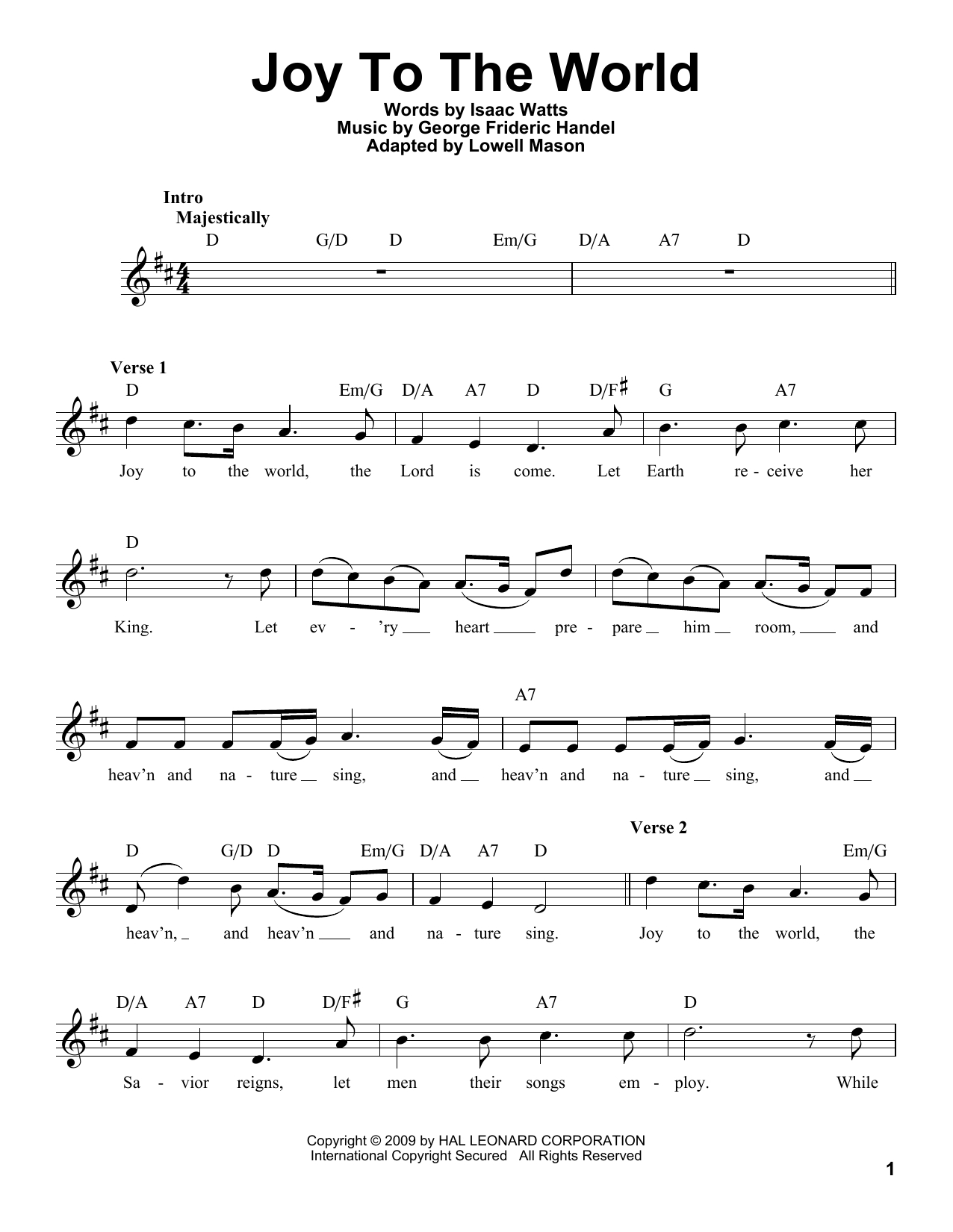 Joy To The World Chords Joy To The World George Frideric Handel Guitar Ensemble Digital Sheet Music