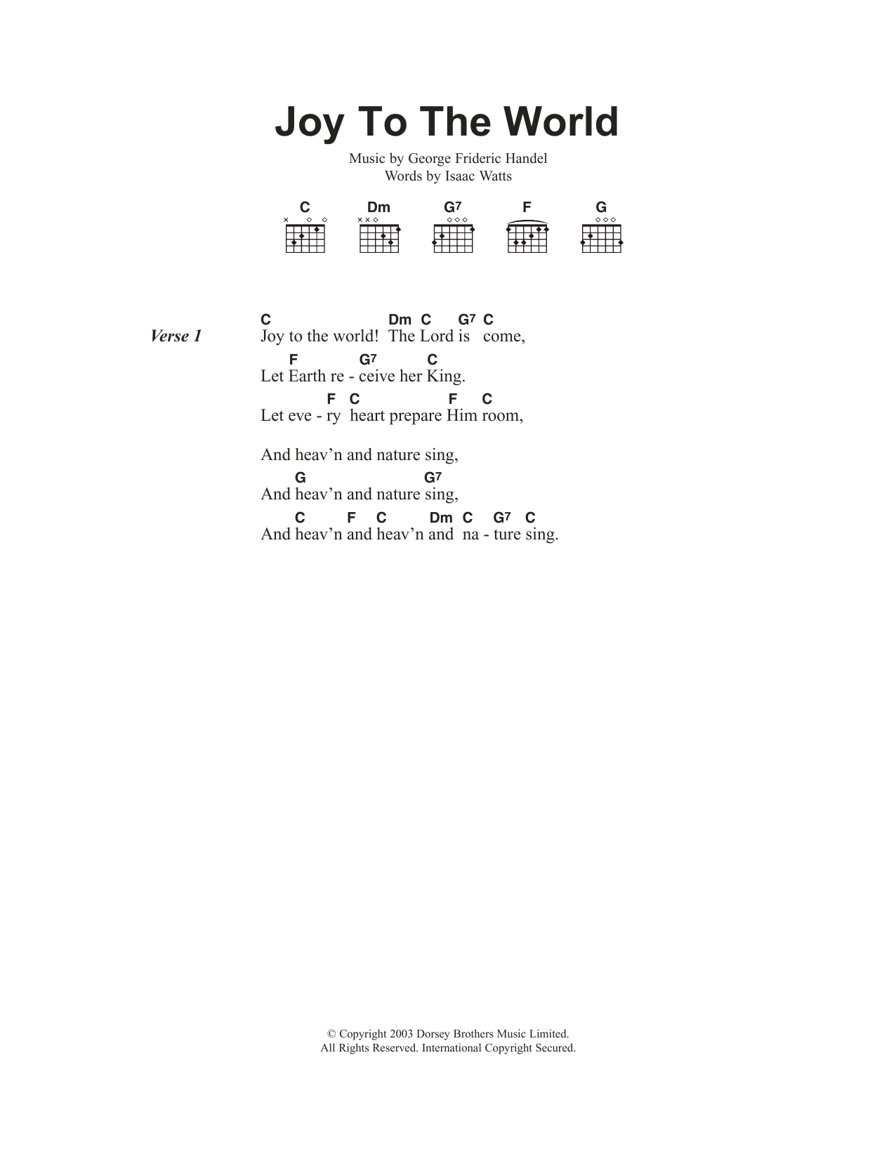 Joy To The World Chords Joy To The World Sheet Music Christmas Carol Guitar Chordslyrics