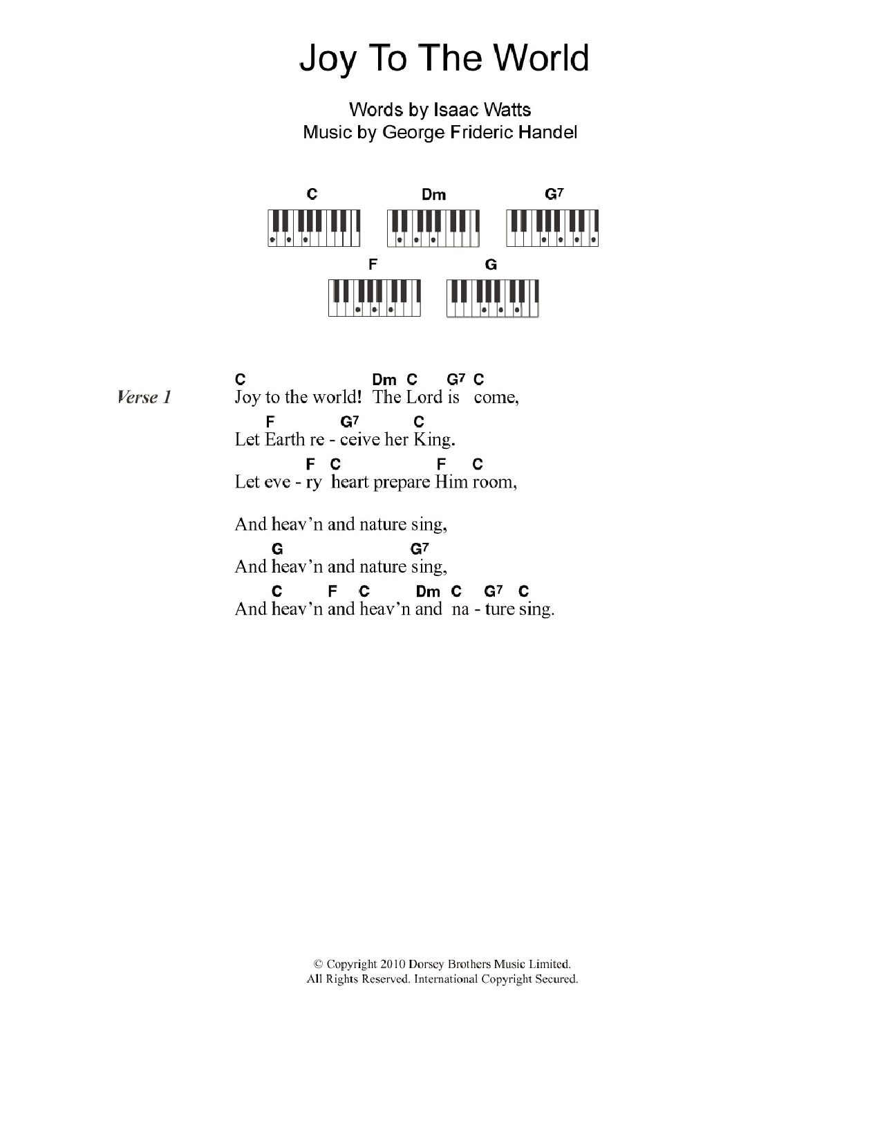 Joy To The World Chords Joy To The World Sheet Music Christmas Carol Piano Chordslyrics