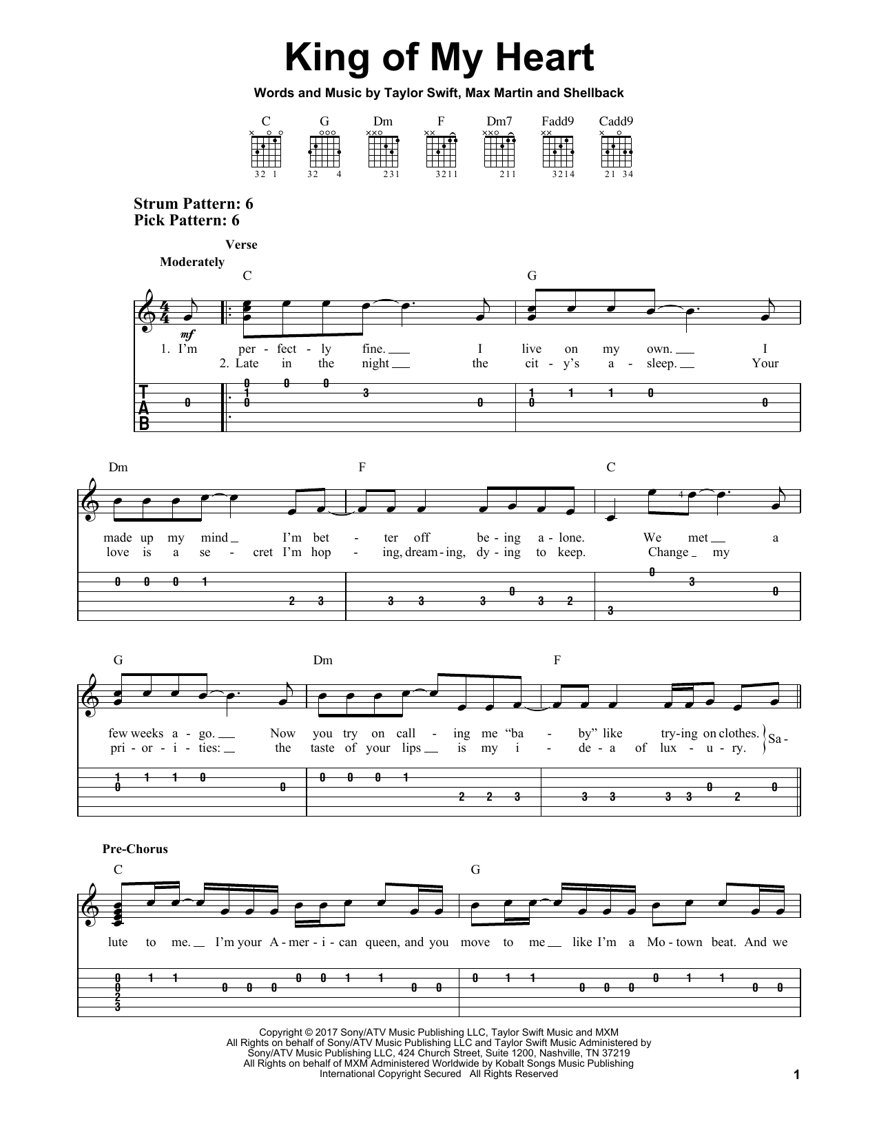 King Of My Heart Chords King Of My Heart Taylor Swift Easy Guitar Tab Guitar Instructor