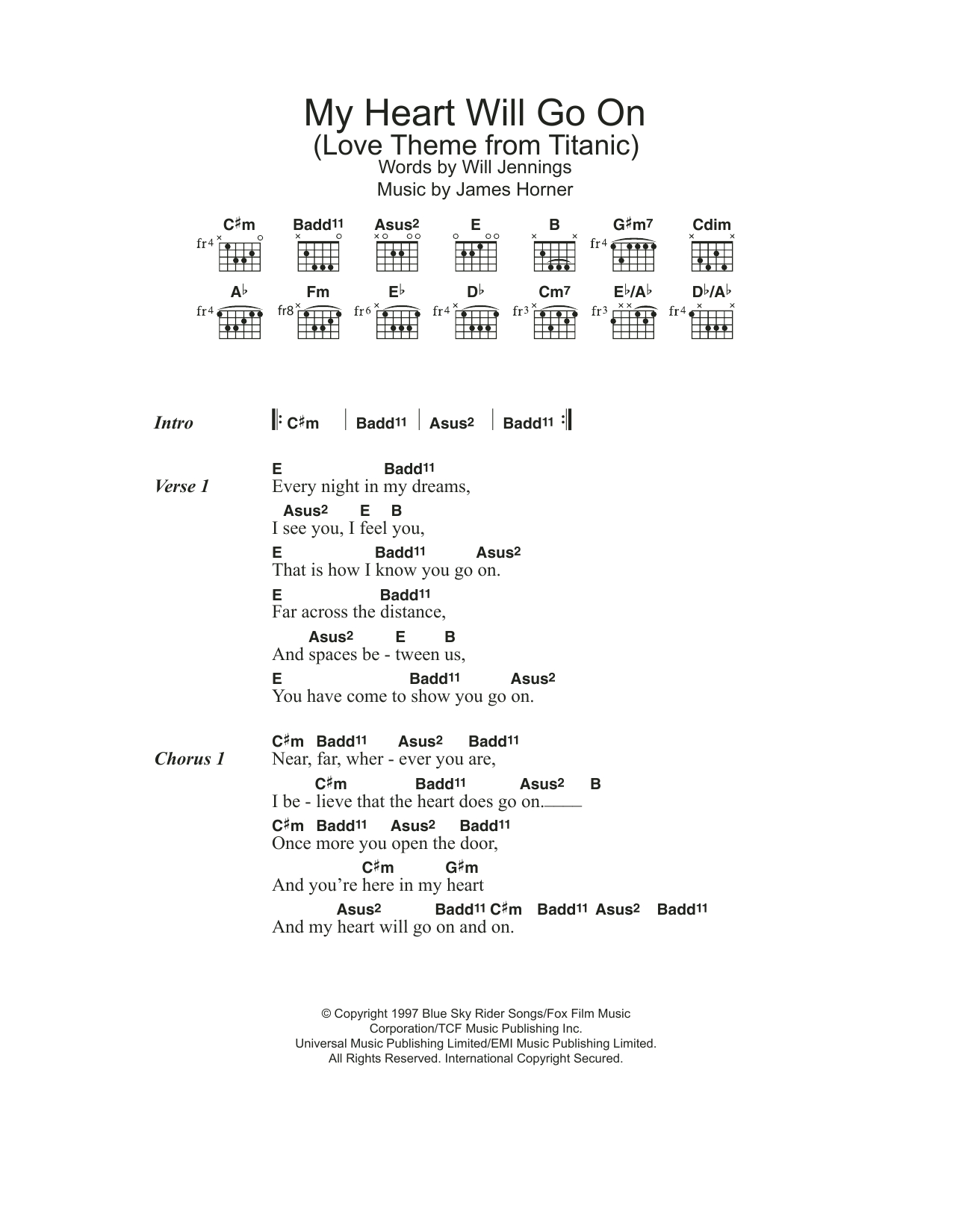 King Of My Heart Chords My Heart Will Go On Love Theme From Titanic Sheet Music Celine