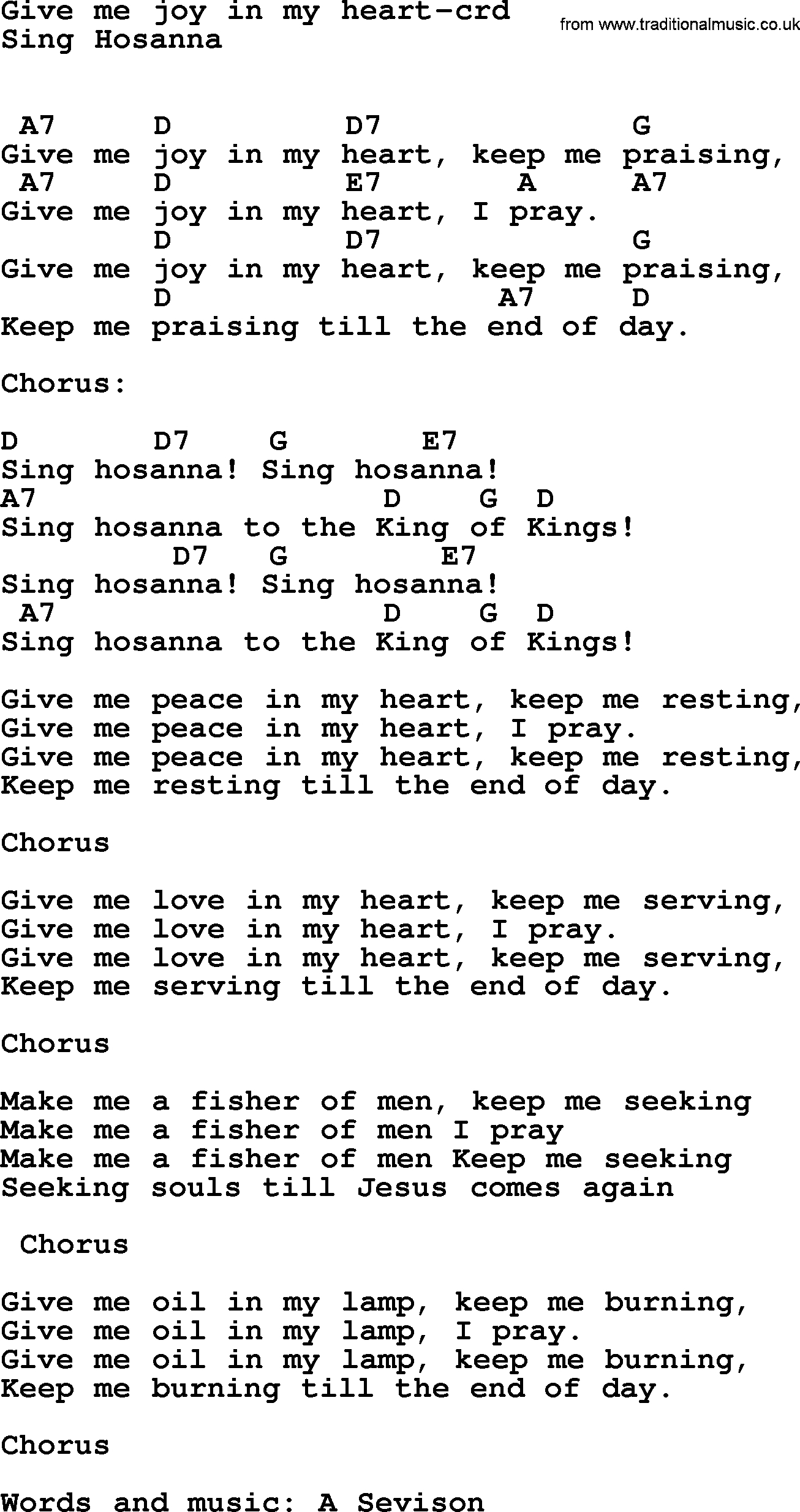 King Of My Heart Chords Top 500 Hymn Give Me Joy In My Heart Lyrics Chords And Pdf