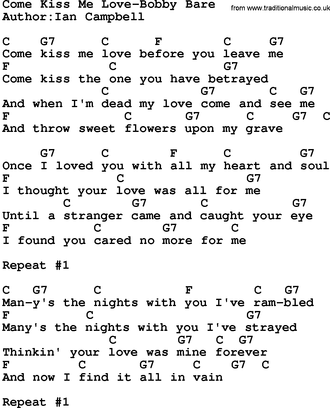 Kiss Me Chords Country Musiccome Kiss Me Love Bob Bare Lyrics And Chords