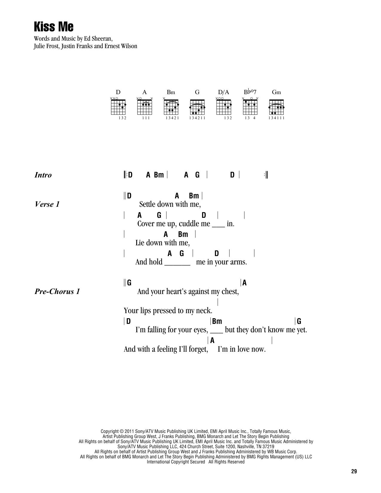 Kiss Me Chords Kiss Me Ed Sheeran Guitar Chordslyrics Guitar Instructor
