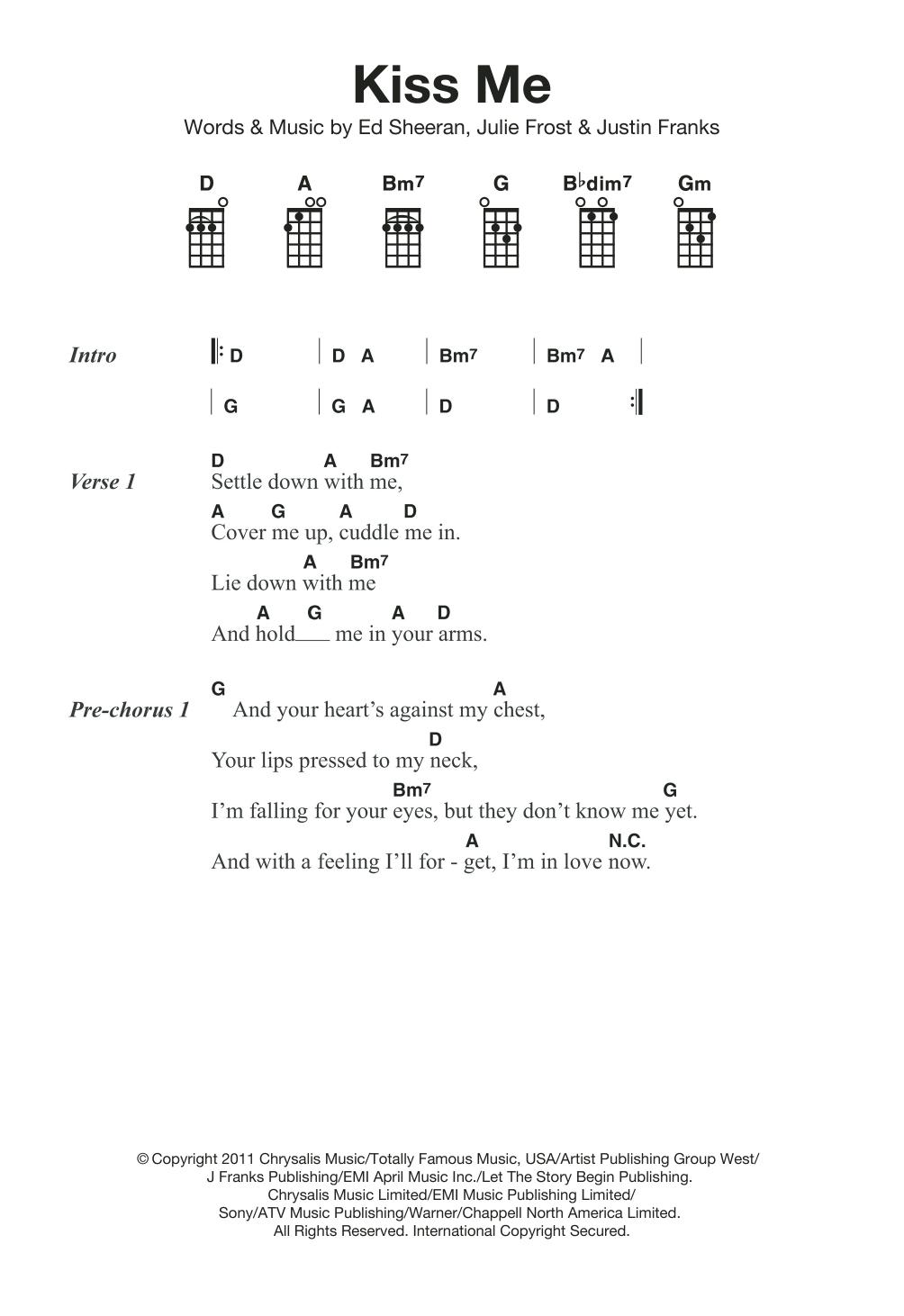 Kiss Me Chords Kiss Me Ed Sheeran Ukulele Guitar Instructor