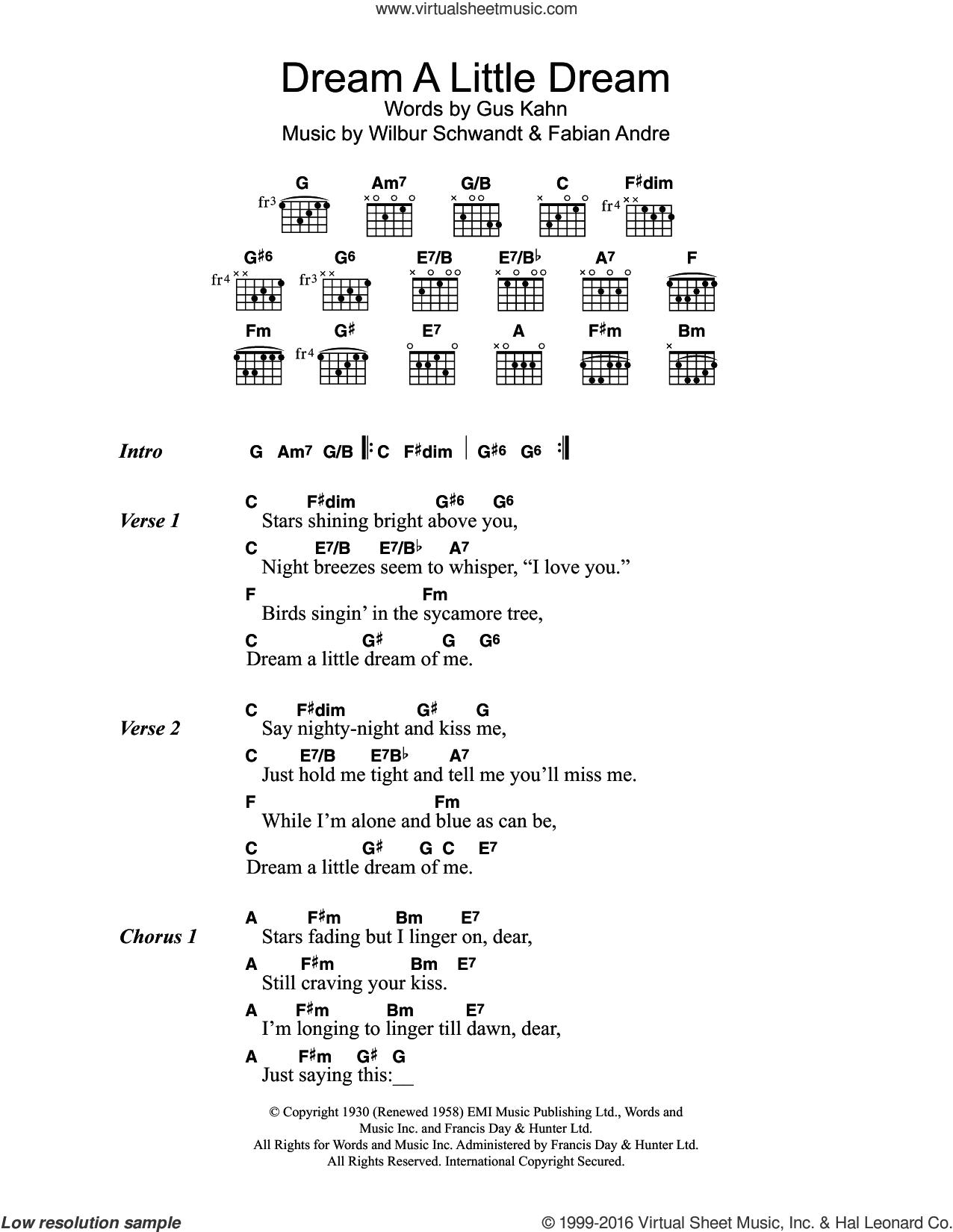 Kiss Me Chords Papas Dream A Little Dream Of Me Sheet Music For Guitar Chords