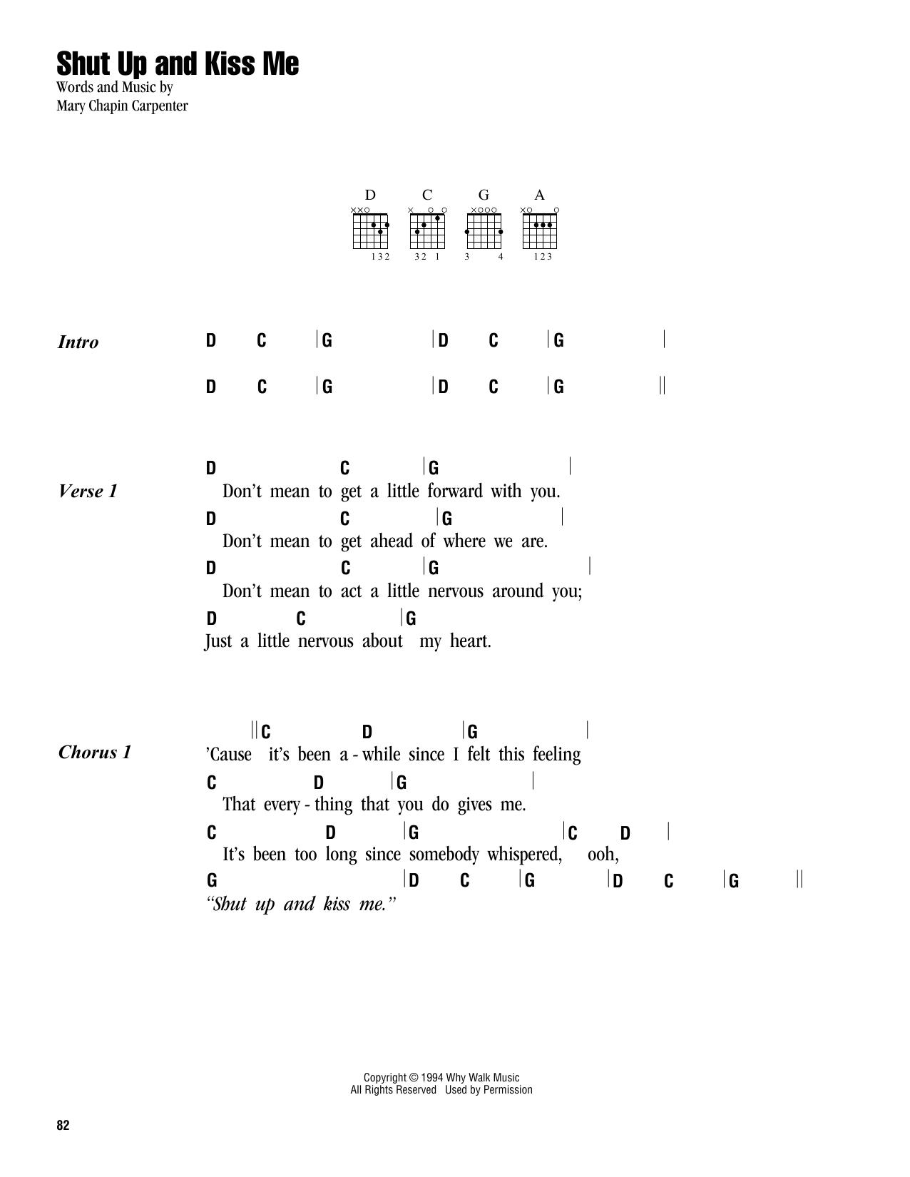 Kiss Me Chords Shut Up And Kiss Me Mary Chapin Carpenter Guitar Chordslyrics