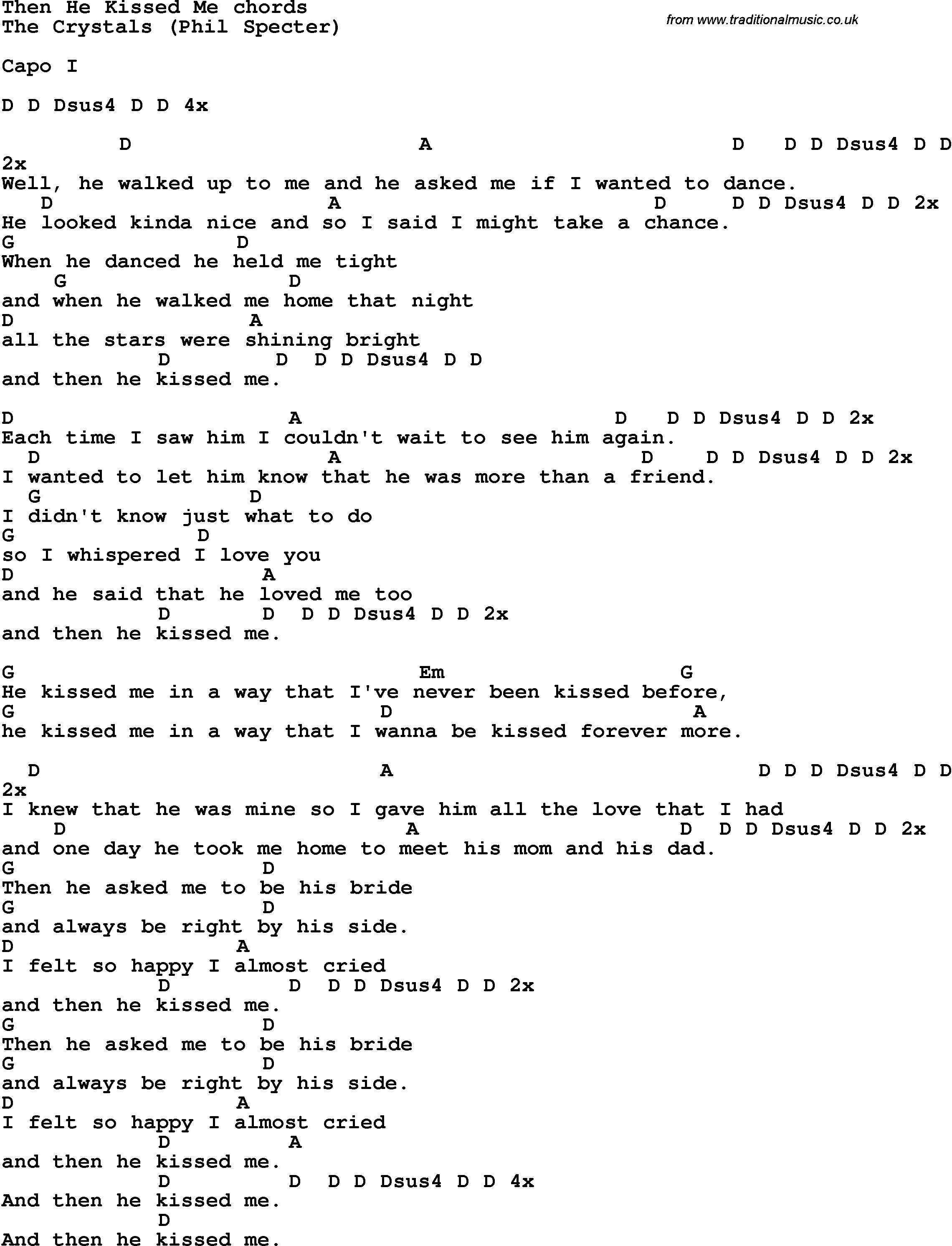 Kiss Me Chords Song Lyrics With Guitar Chords For Then He Kissed Me The Crystals