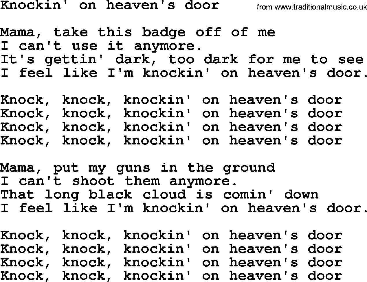 Knocking On Heavens Door Chords Bruce Springsteen Song Knockin On Heavens Door Lyrics