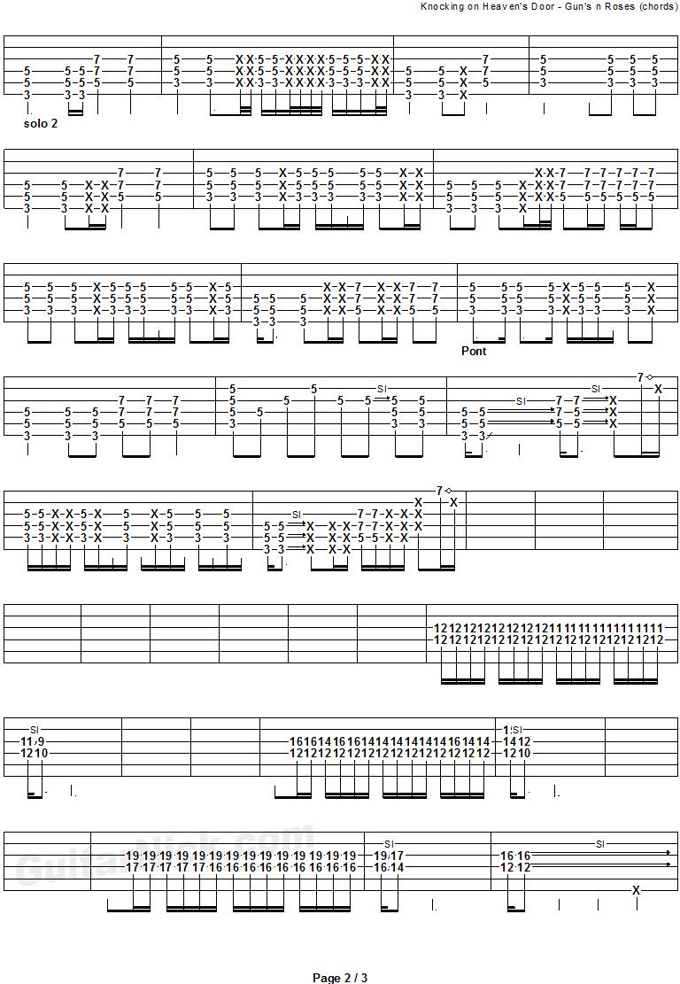 Knocking On Heavens Door Chords Knocking On Heavens Door Guns N Roses Guitar Tab Guitarnick
