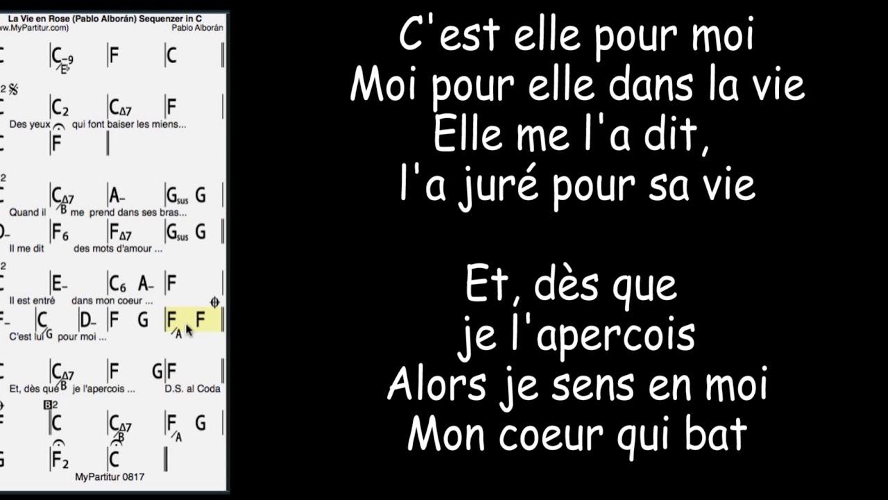 La Vie En Rose Chords La Vie En Rose Chords At Mypartitur Lyrics