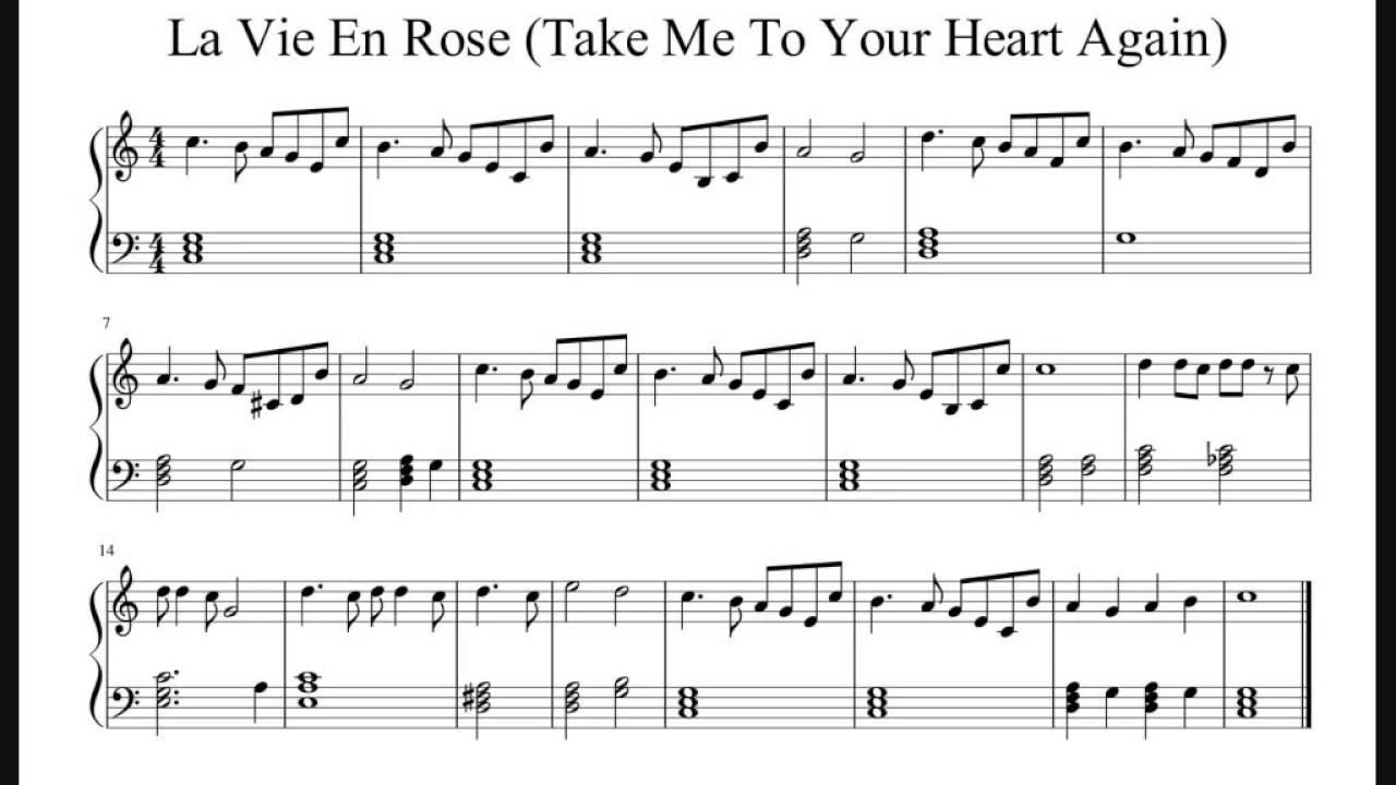 La Vie En Rose Chords La Vie En Rose Easy Piano Sheet Music No Audio
