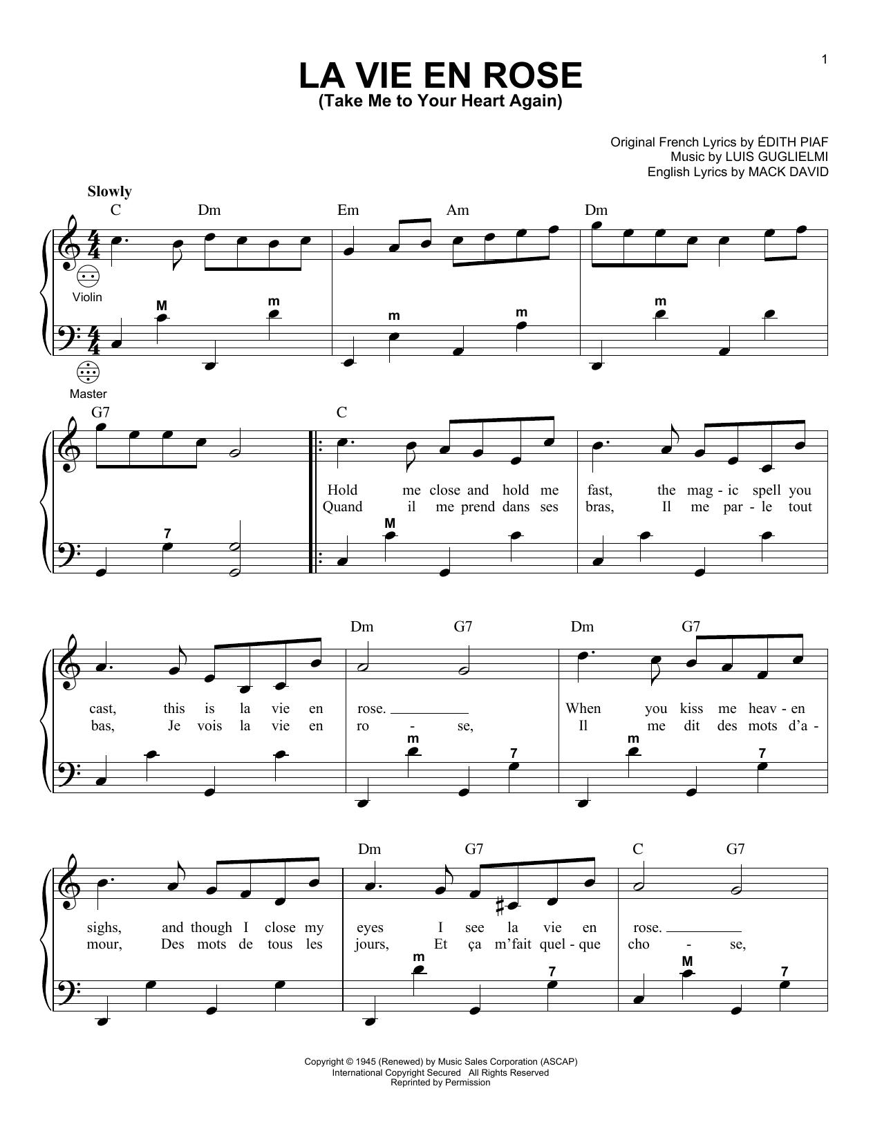 La Vie En Rose Chords La Vie En Rose Take Me To Your Heart Again Accordion Sheet Music