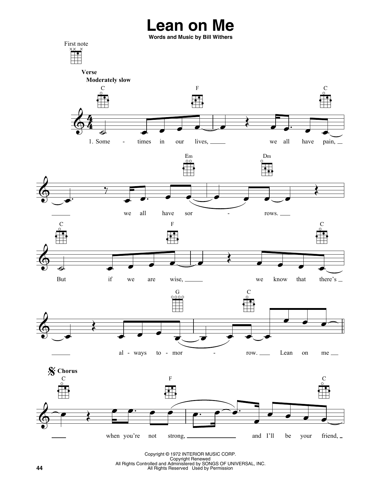 Lean On Me Chords Bill Withers Lean On Me Sheet Music Notes Chords Download Printable Banjo Tab Sku 414949