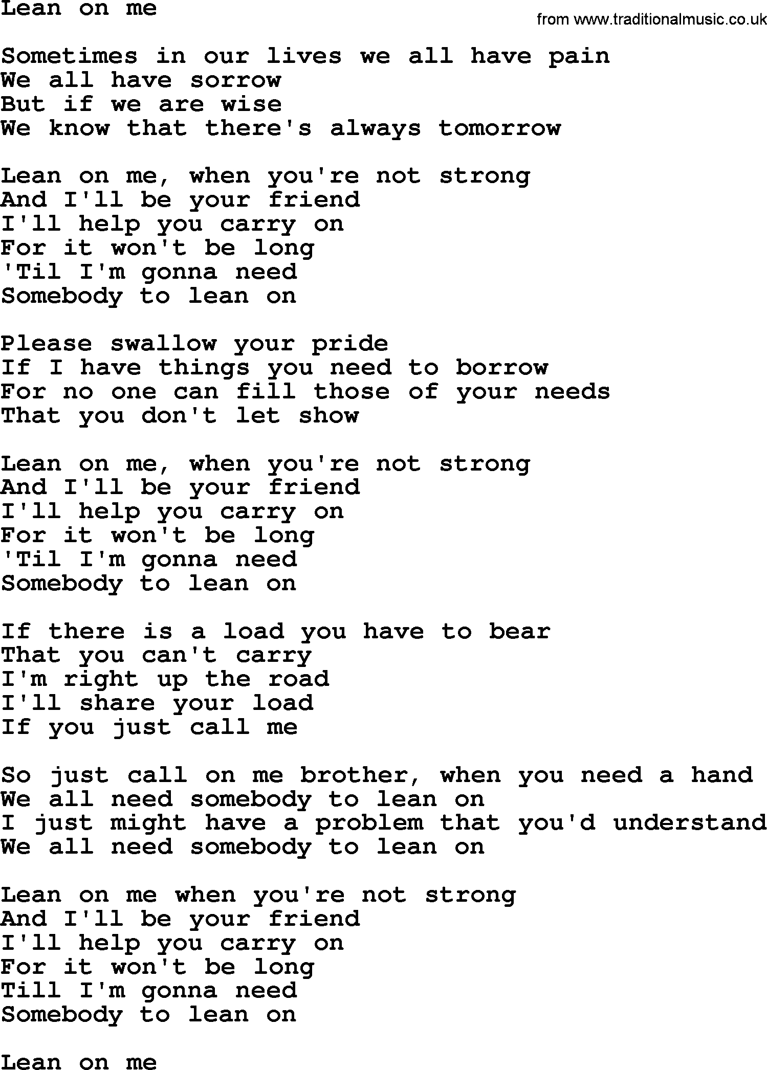 Lean On Me Chords Bruce Springsteen Song Lean On Me Lyrics