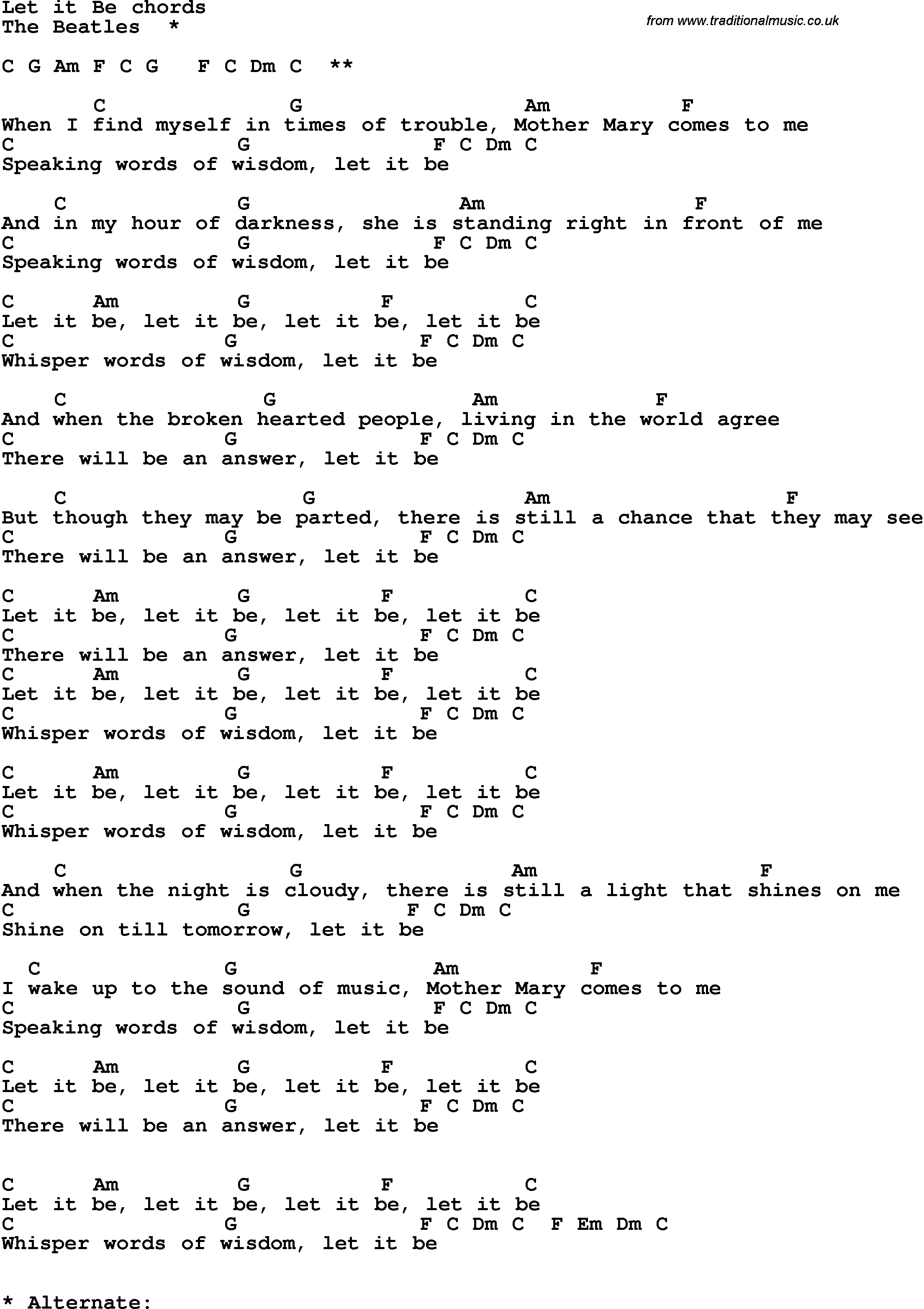 Let It Be Chords Song Lyrics With Guitar Chords For Let It Be The Beatles