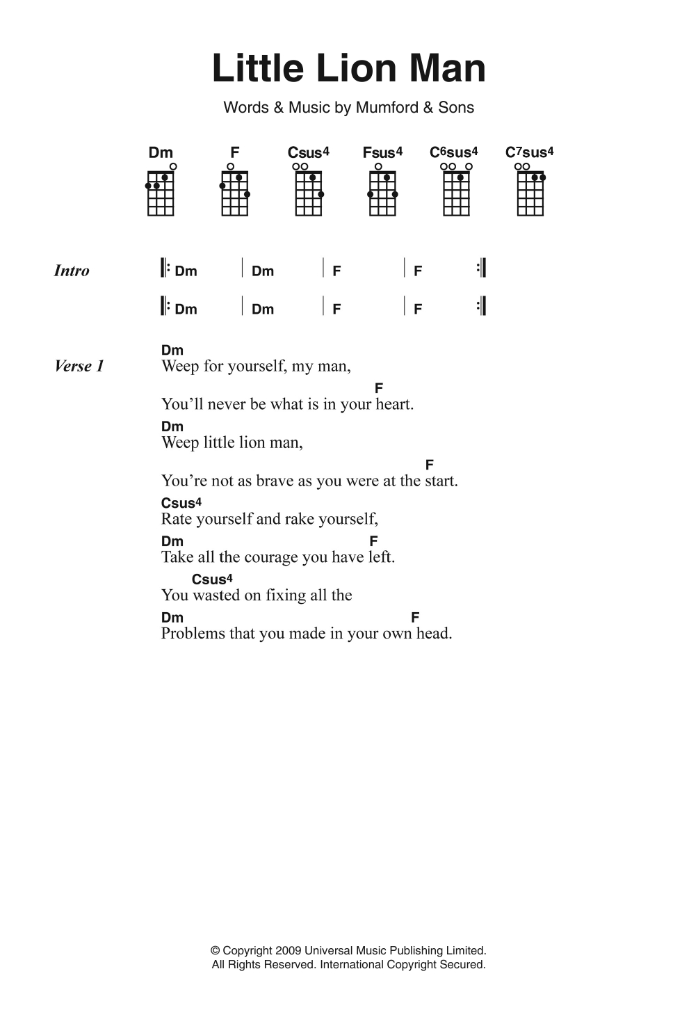 Little Lion Man Chords Little Lion Man Mumford Sons Piano Vocal Guitar Right Hand Melody Digital Sheet Music