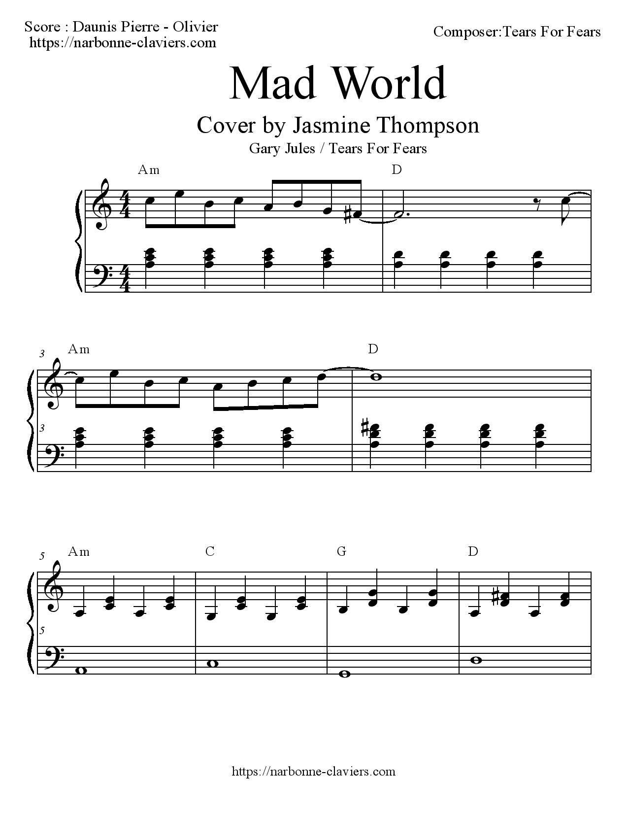 Mad World Chords At Mad World Jasmine Thompson Chords Mens Esjob