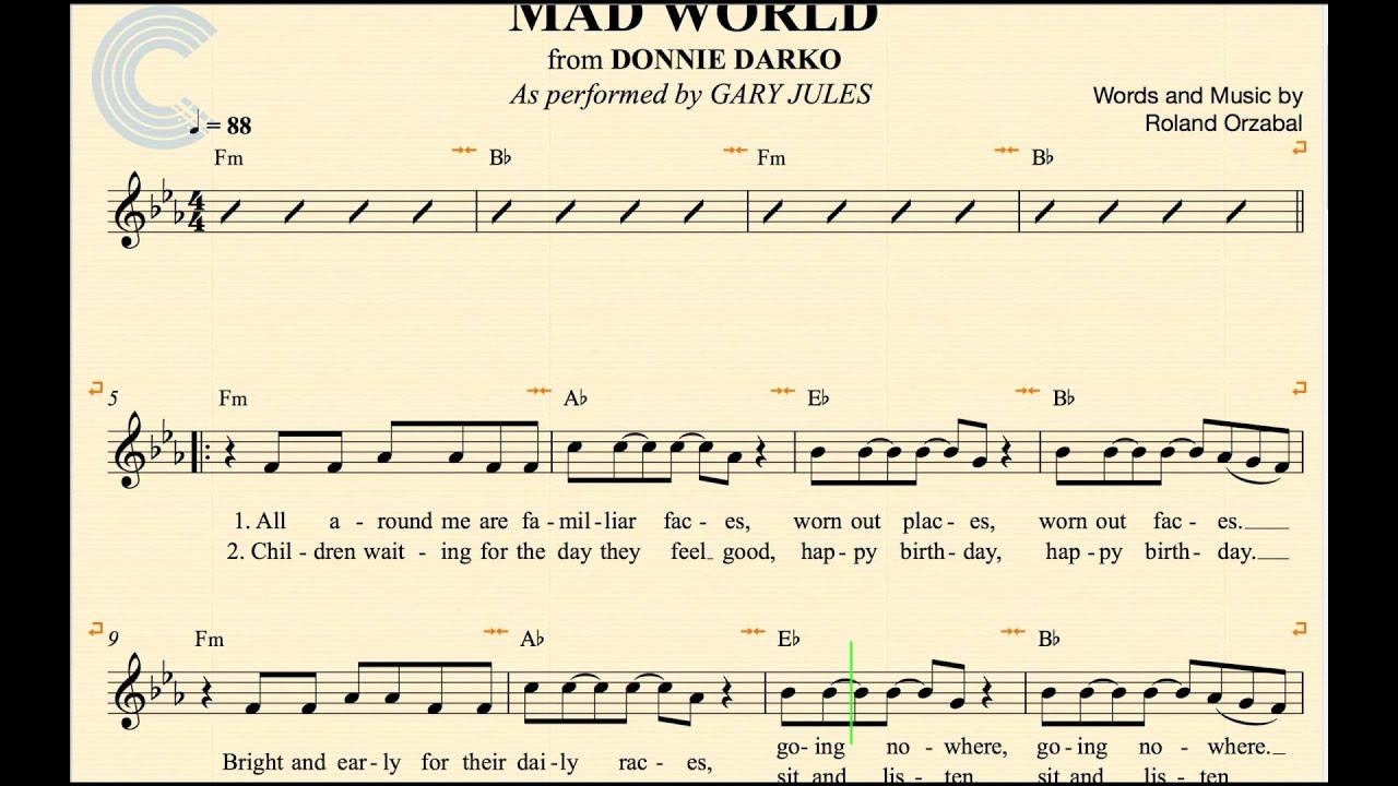 Mad World Chords Flute Mad World Gary Jules Donnie Darko Sheet Music Chords Vocals