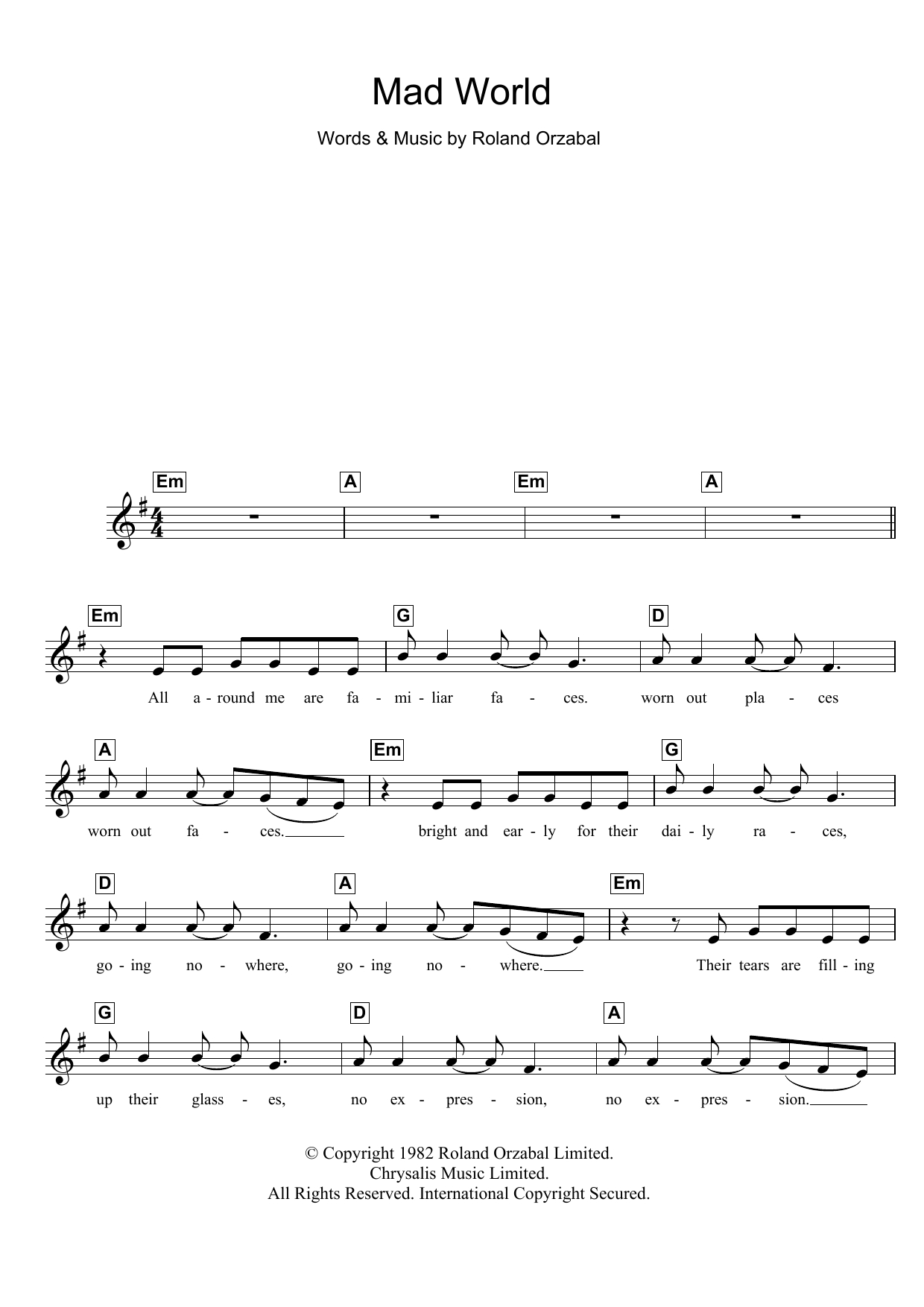 Mad World Chords Mad World From Donnie Darko Gary Jules Lead Sheet Fake Book Digital Sheet Music