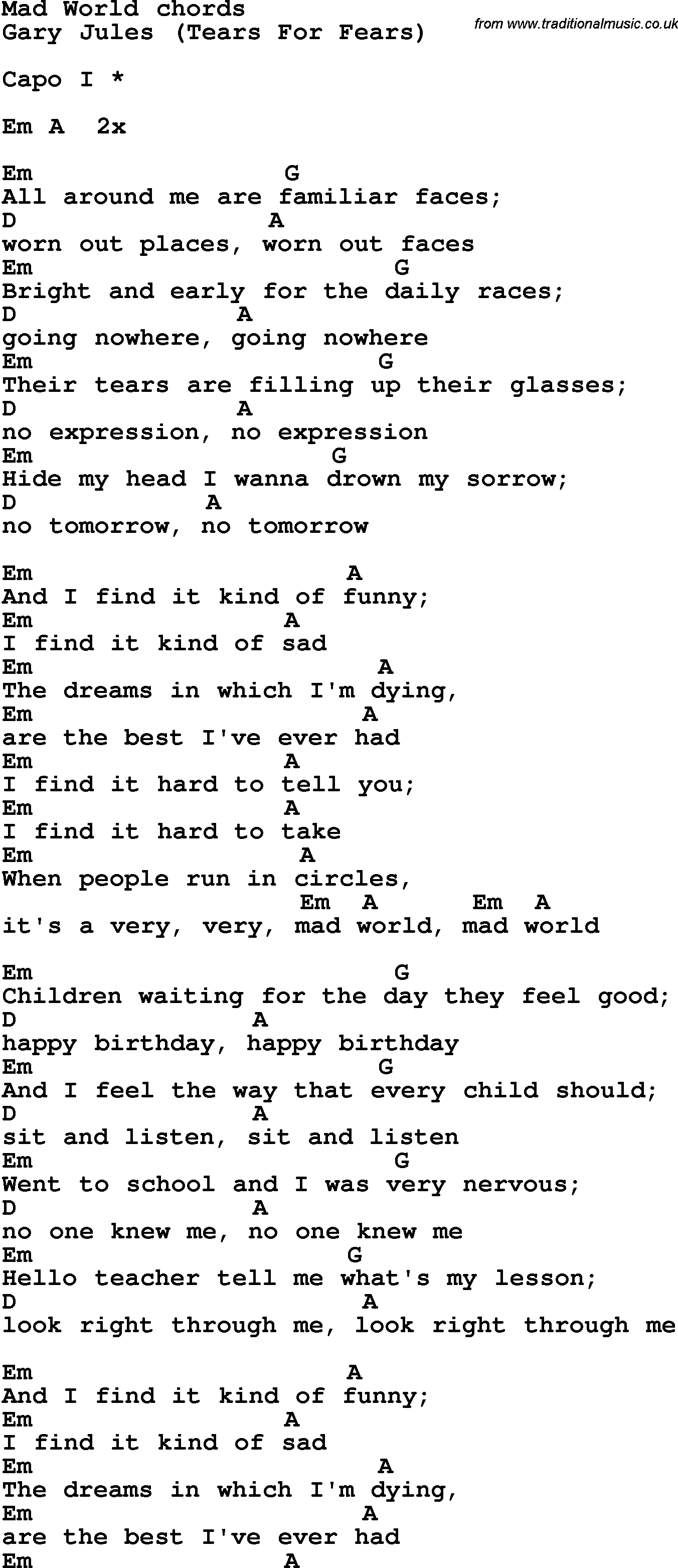 Mad World Chords Song Lyrics With Guitar Chords For Mad World