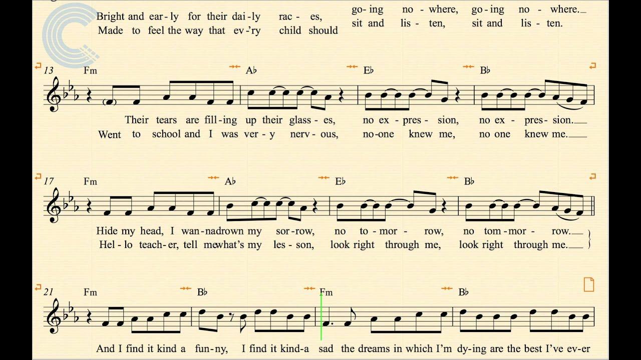 Mad World Chords Trumpet Mad World Gary Jules Donnie Darko Sheet Music Chords Vocals