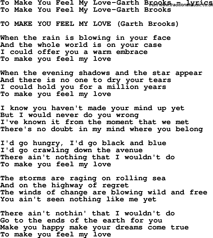 Make You Feel My Love Chords Love Song Lyrics Forto Make You Feel My Love Garth Brooks