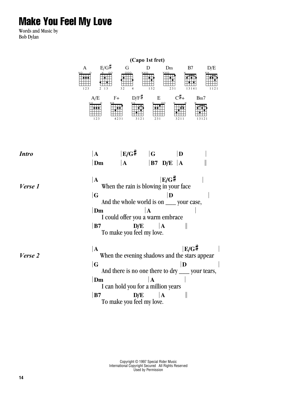 Make You Feel My Love Chords Make You Feel My Love Adele Piano Vocal Guitar Right Hand Melody Digital Sheet Music