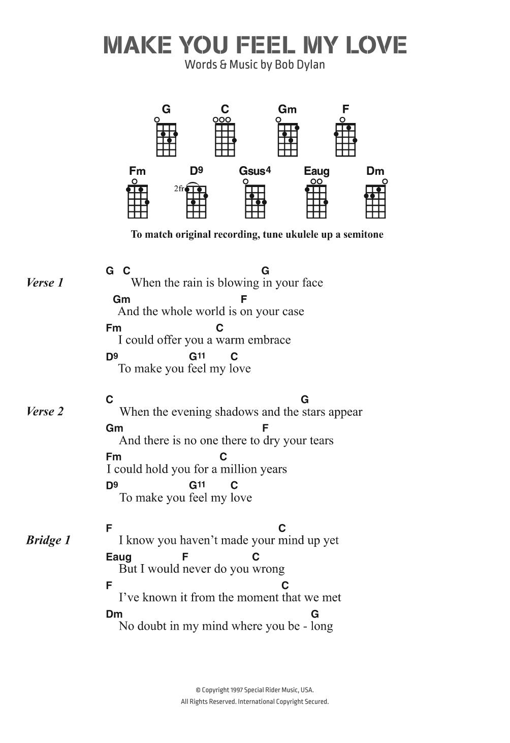 Make You Feel My Love Chords Make You Feel My Love Bob Dylan Ukulele Chordslyrics Digital Sheet Music
